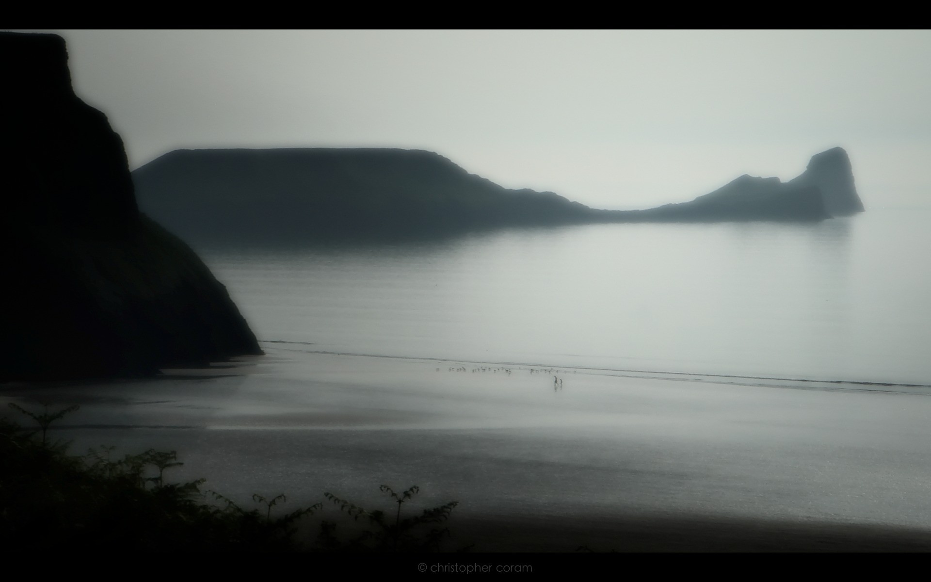Beaches: Walking Worm Wales Darking Blue Sky Water Walk Evening ...