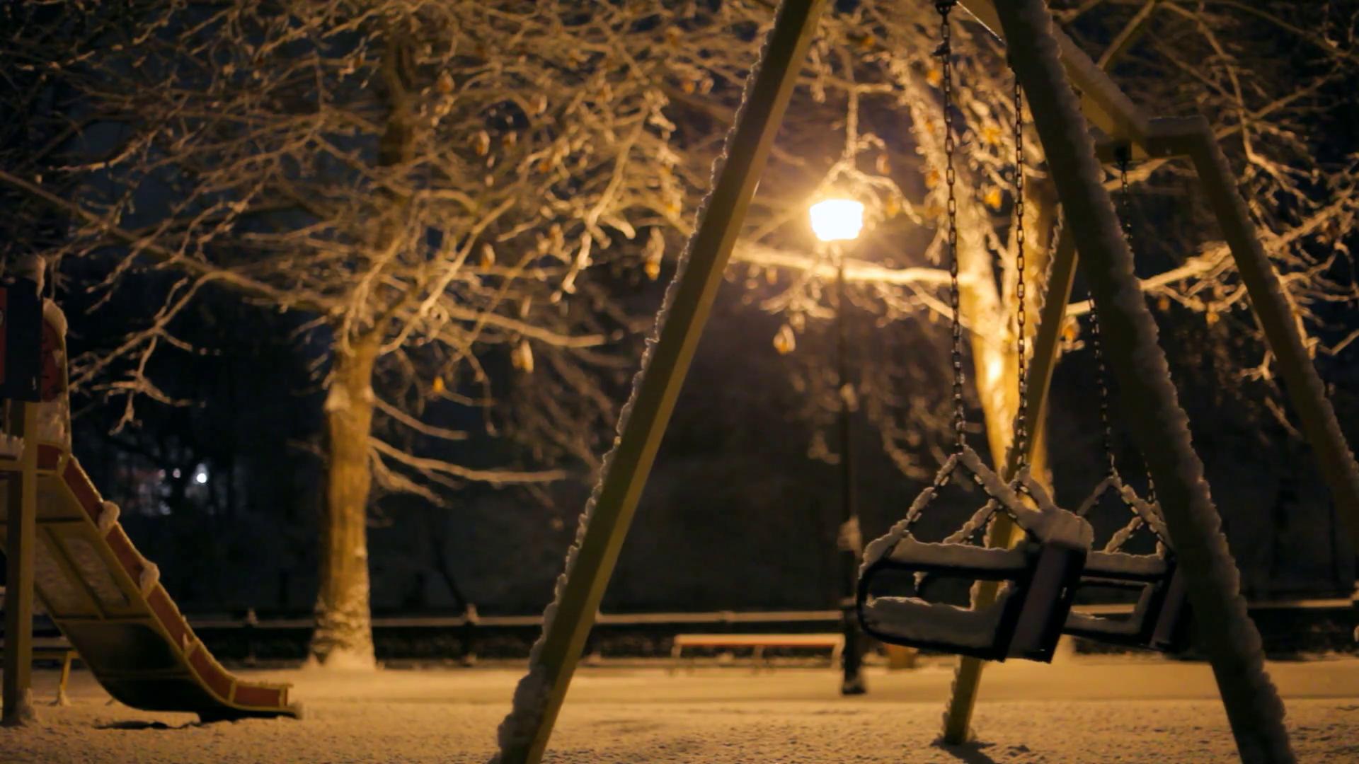 Loneliness empty swing on park Stock Video Footage - Videoblocks