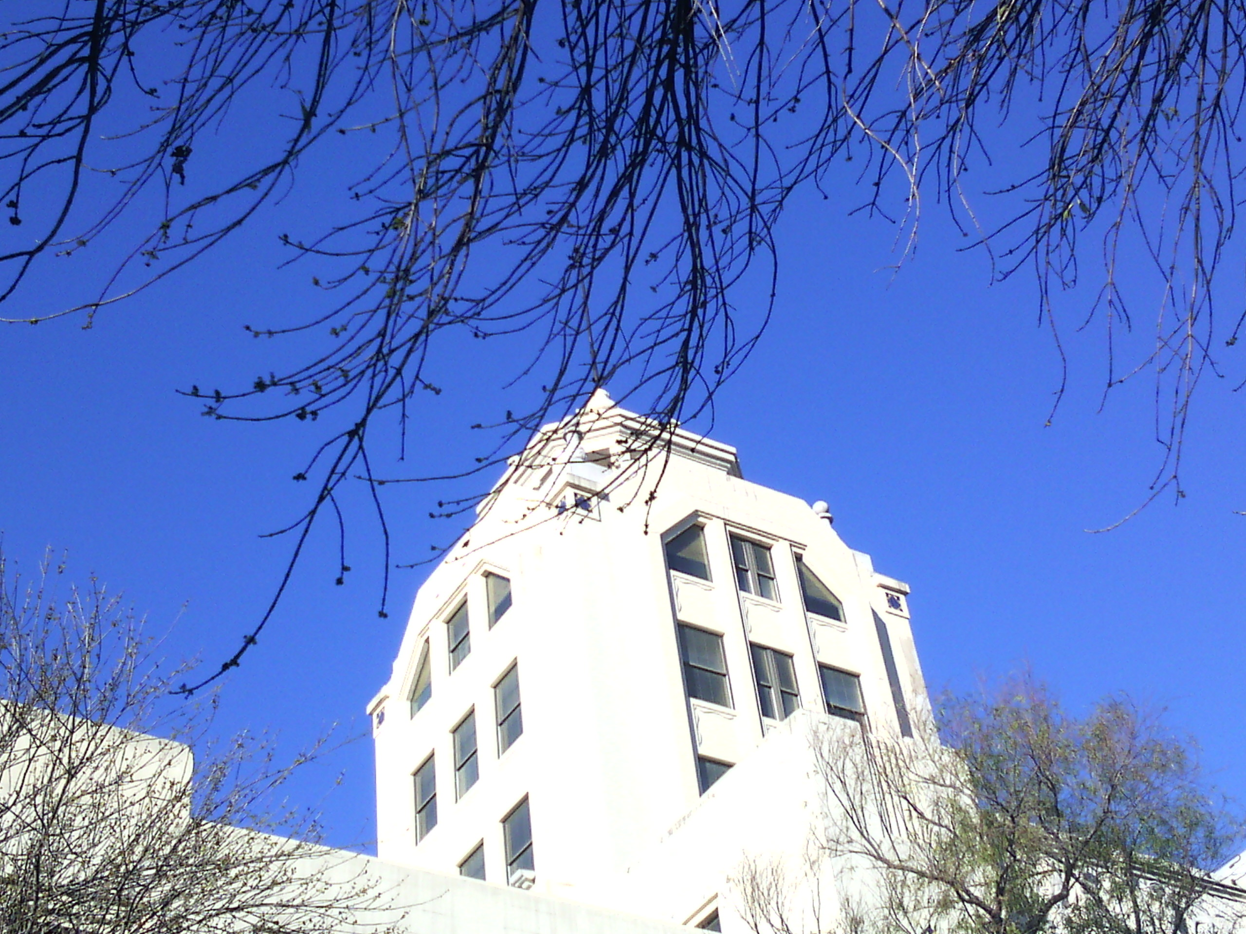 Look at the blue sky over art deco building photo