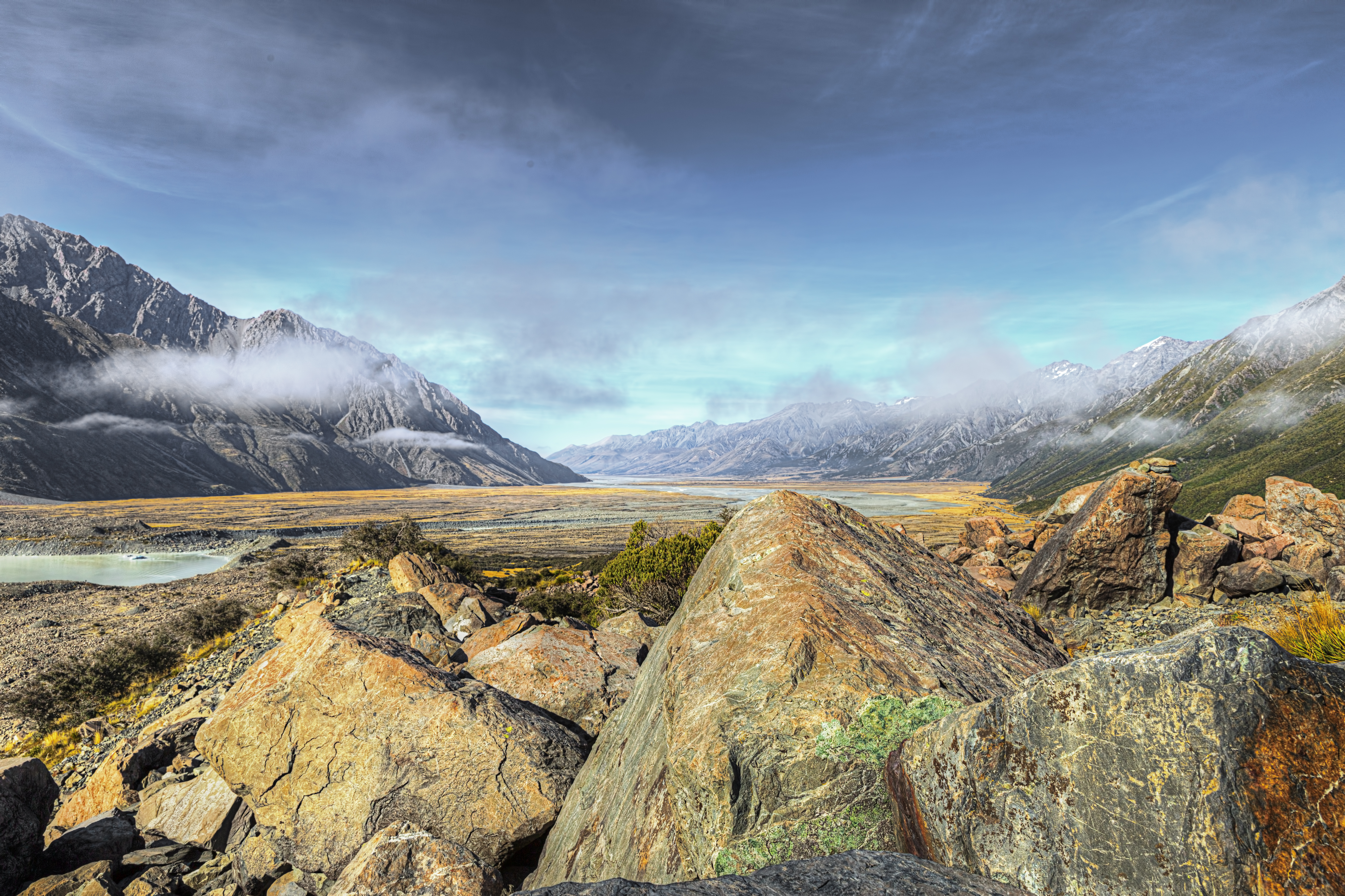 Looking down the tasman valley in the aoraki/mount cook national park photo