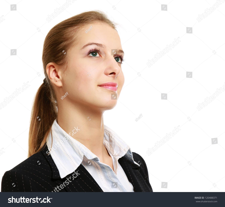 Beautiful Woman Thinking Looking Upwards On Stock Photo 120488371 ...
