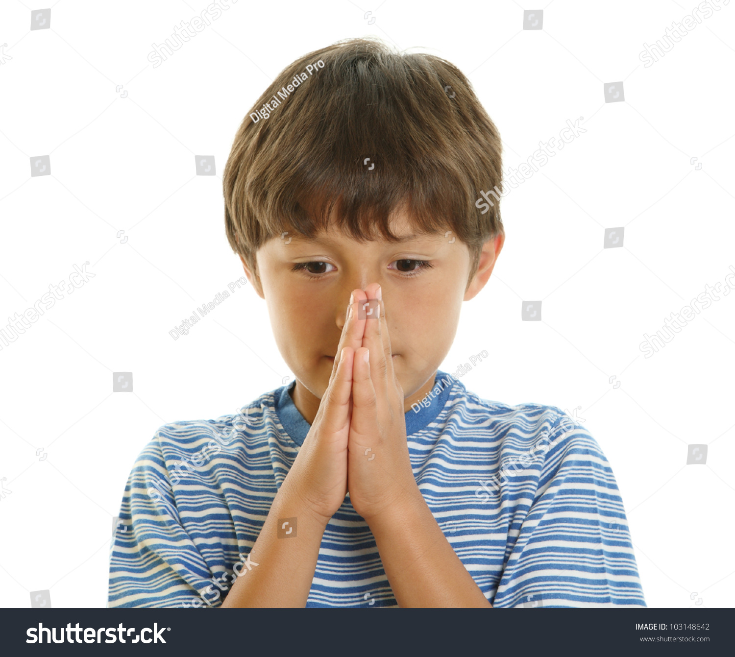 Young Boy Looking Upwards Hands Together Stock Photo (Royalty Free ...