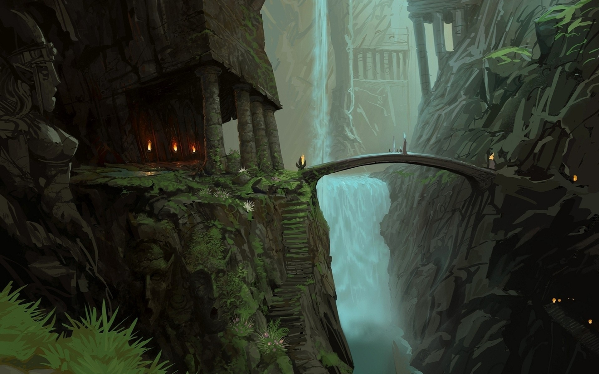 nature, rocks, bridges, The Lord of the Rings, fantasy art, statues ...