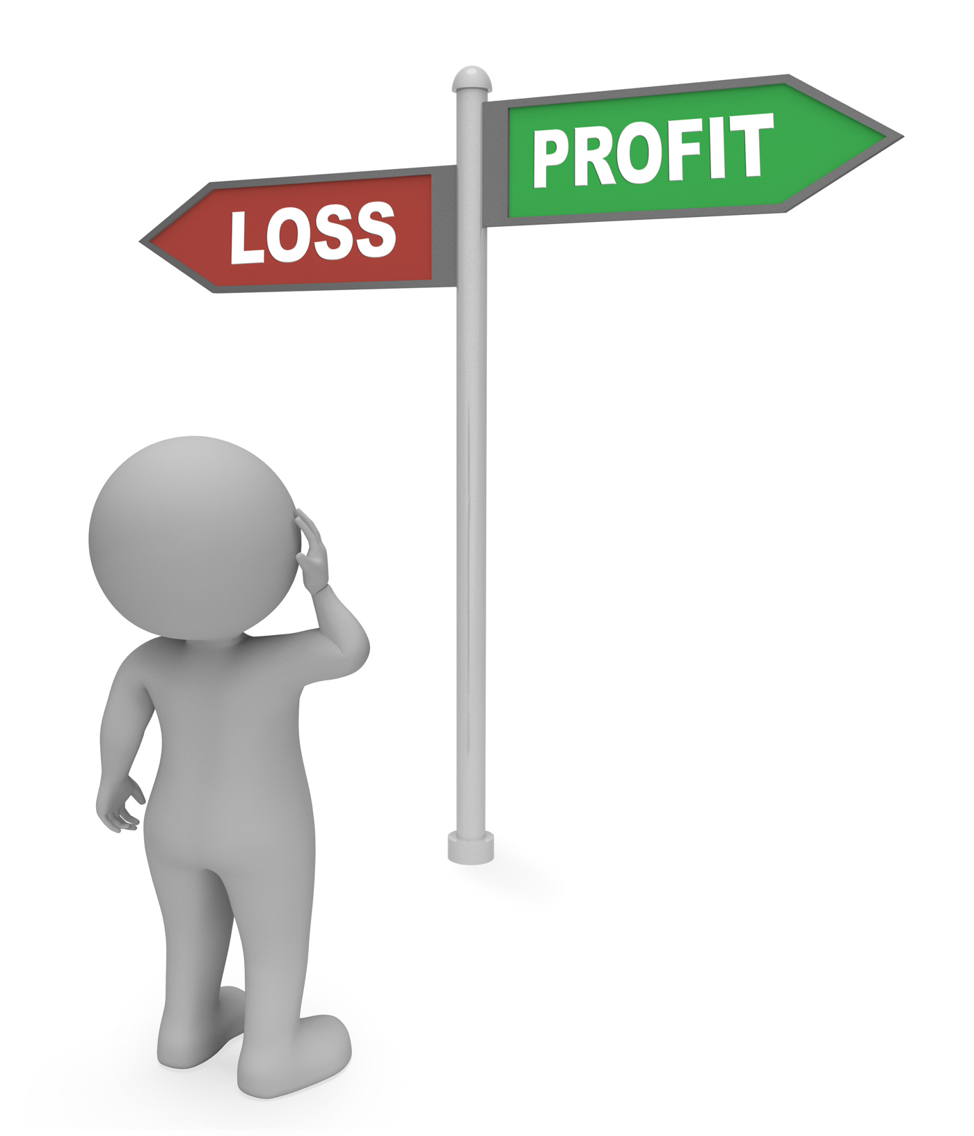 Loss profit sign shows earn profit 3d rendering photo