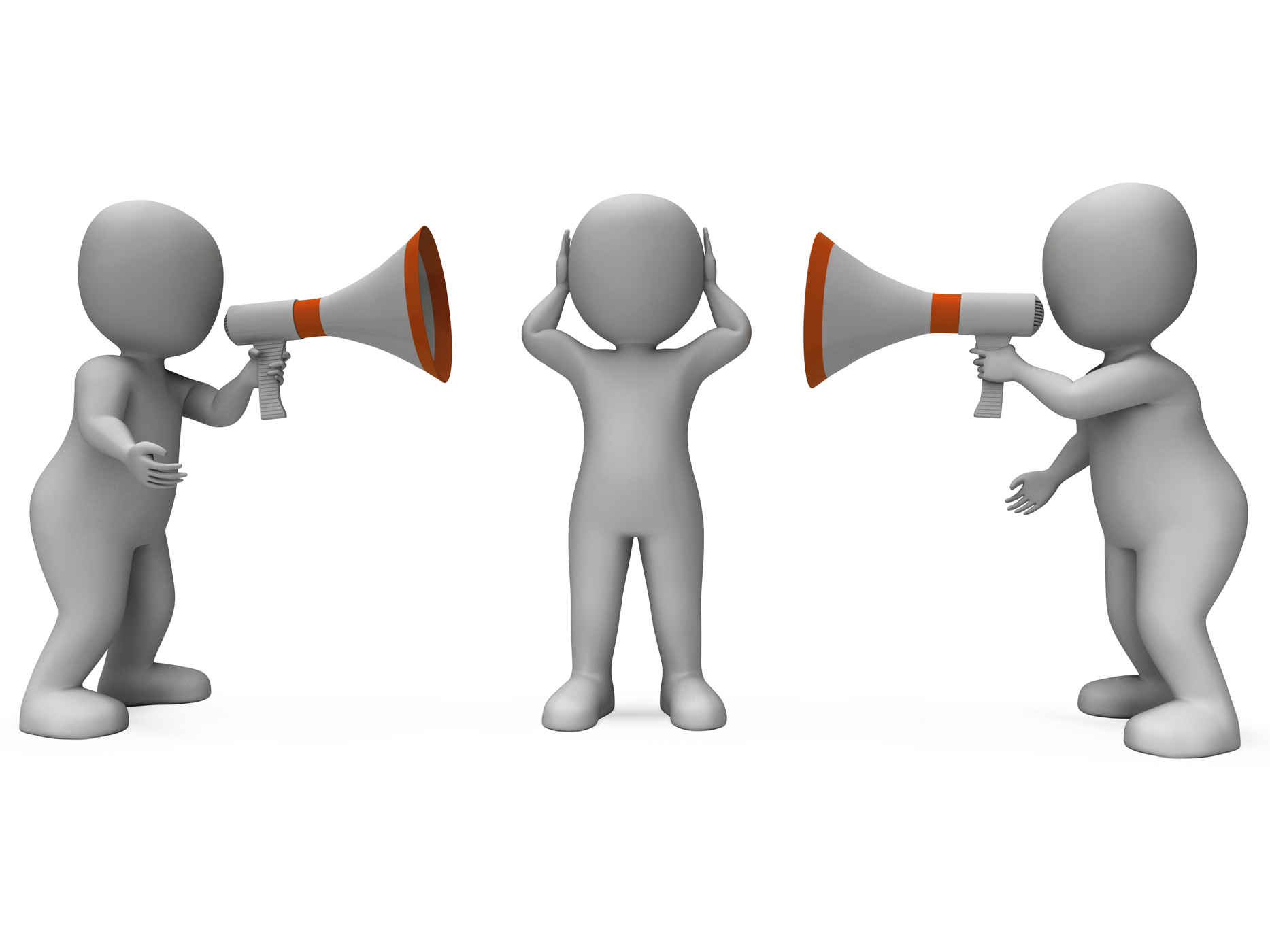 Loud hailer characters show megaphone attention explaining and bullyin photo
