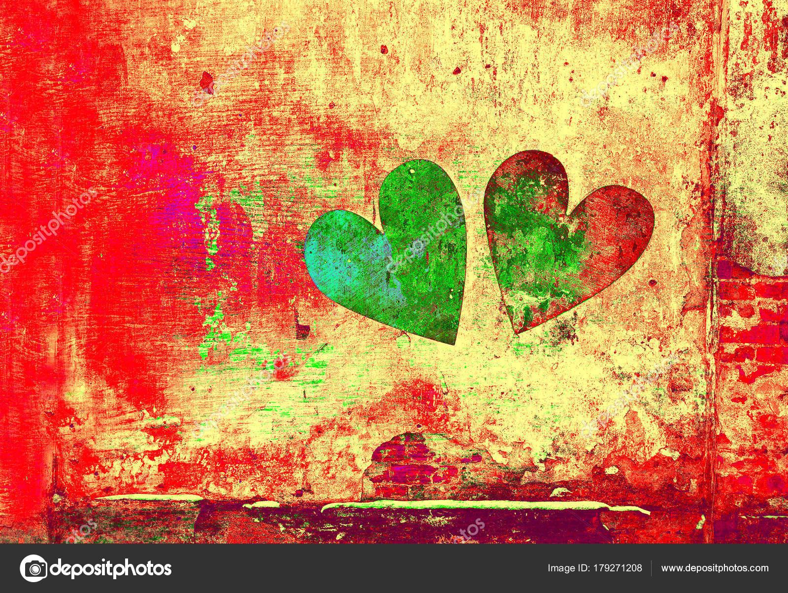 Love Romance Creative Art Background Heart Painted Wall Grunge Style ...
