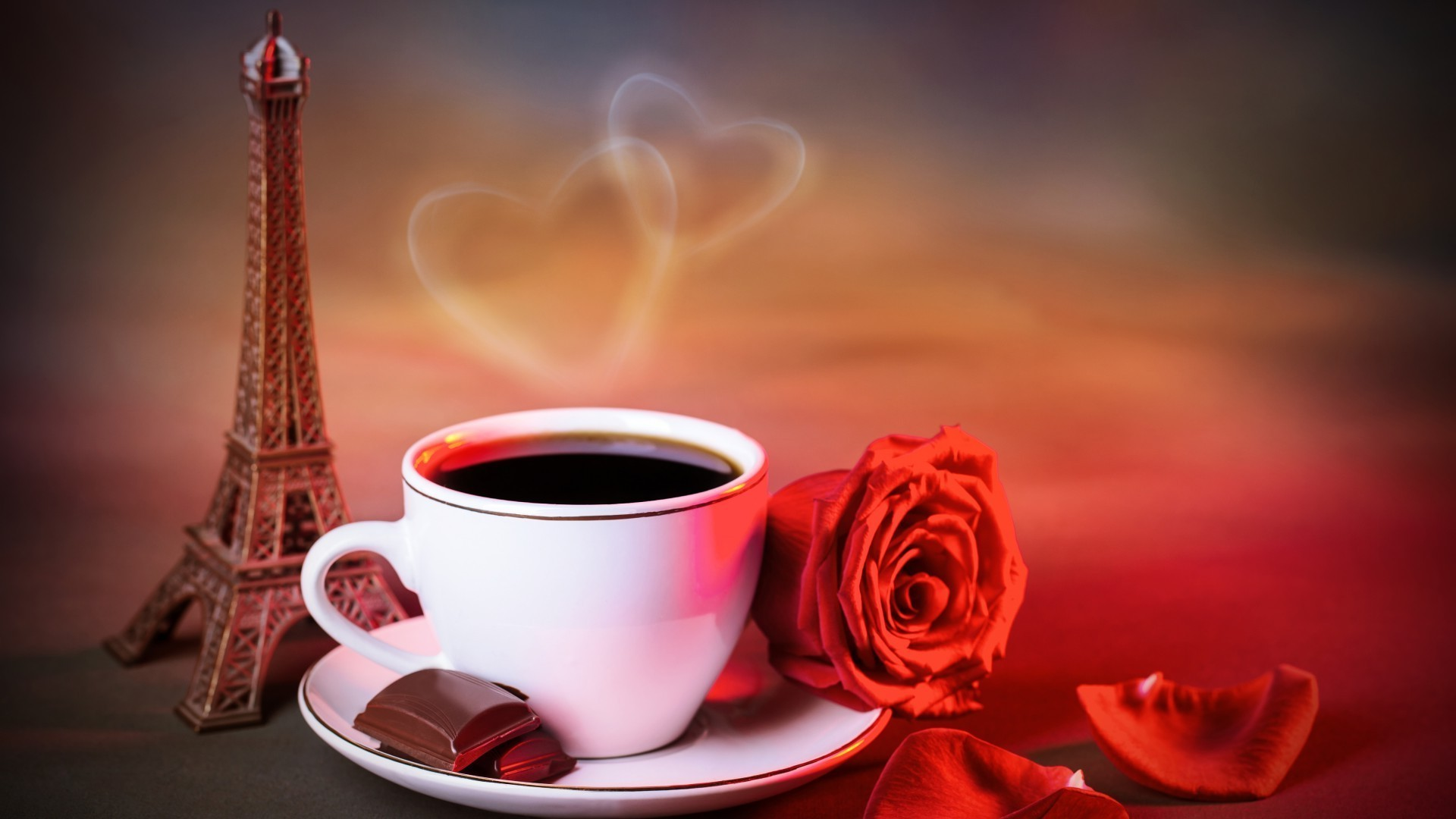 Coffee,rose,love,Paris. Android wallpapers for free.