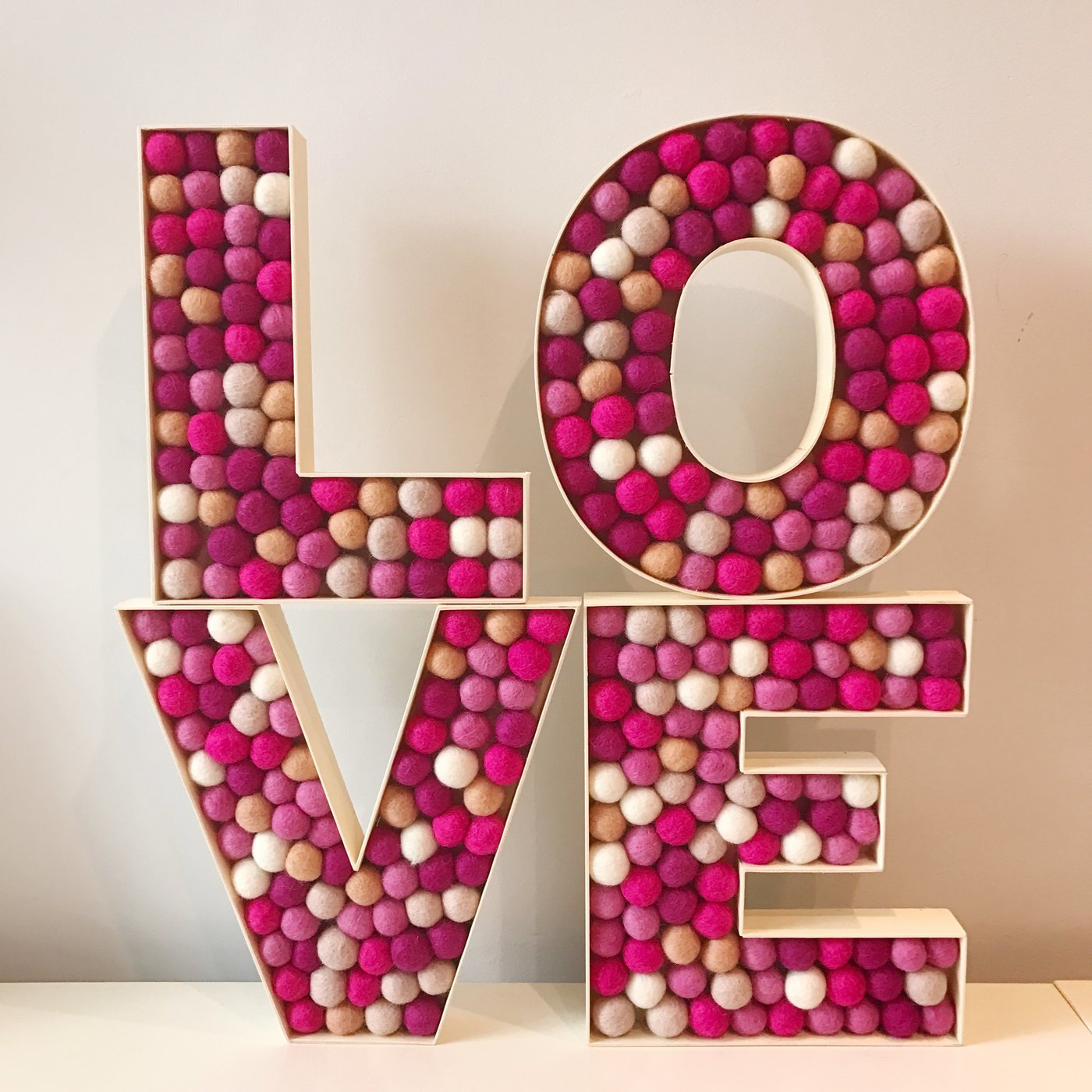 FELT BALL 'LOVE' DECORATION LETTERS – Lobellaloves