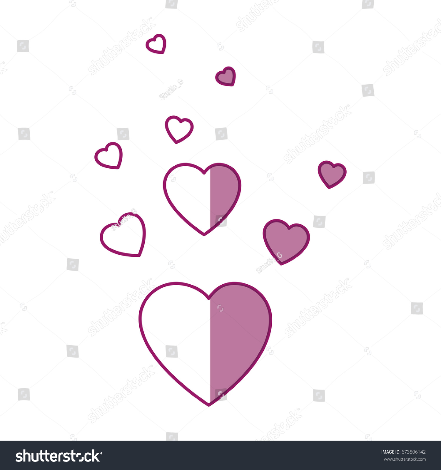 Hearts Love Decoration Stock Vector 673506142 - Shutterstock