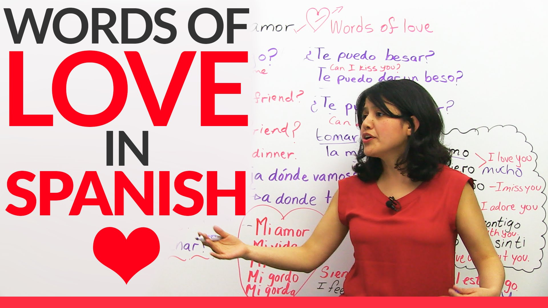 Learn Words of LOVE in Spanish ❤ ❤ ❤ - YouTube