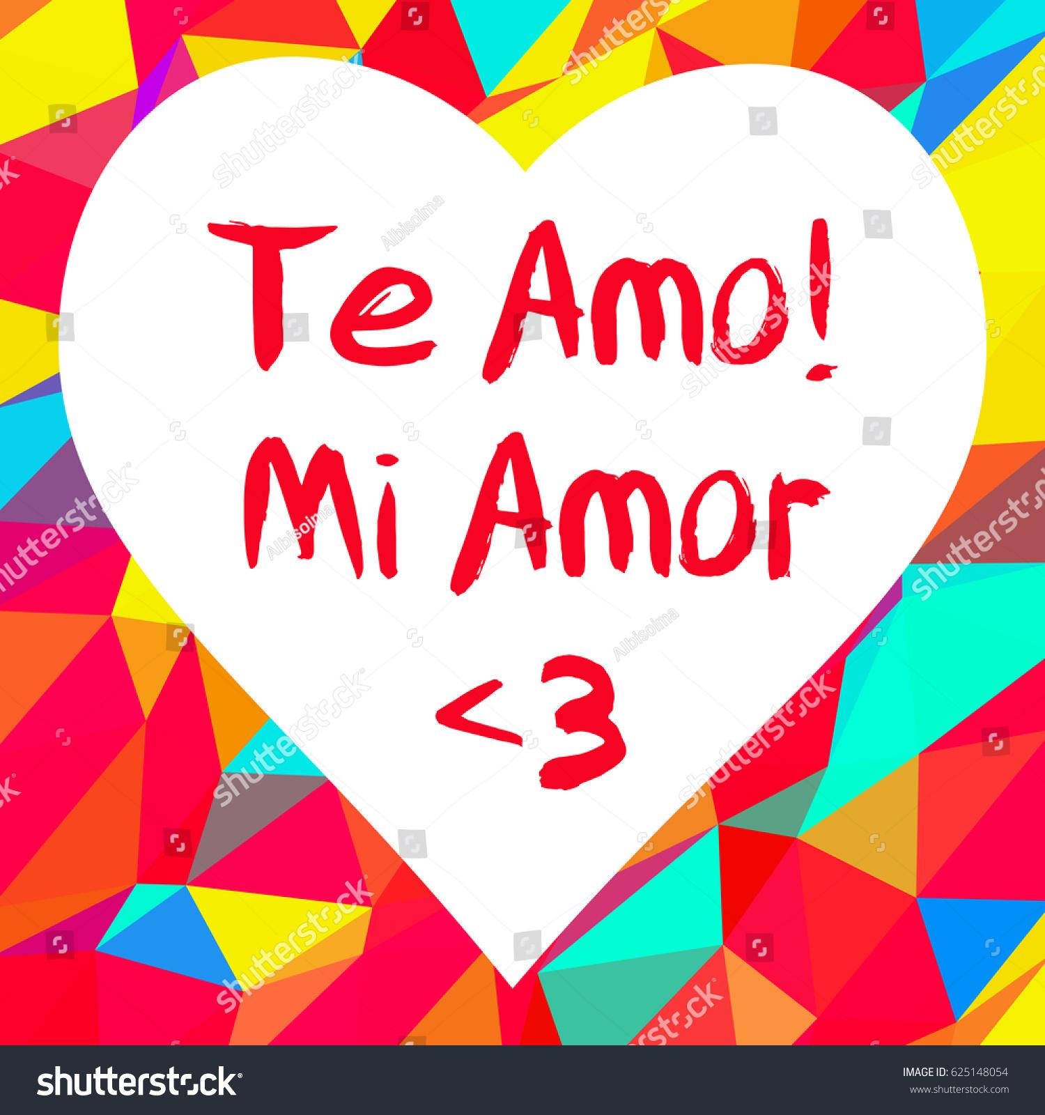 Phrase Love You My Love Spanish Stock Vector 625148054 - Shutterstock
