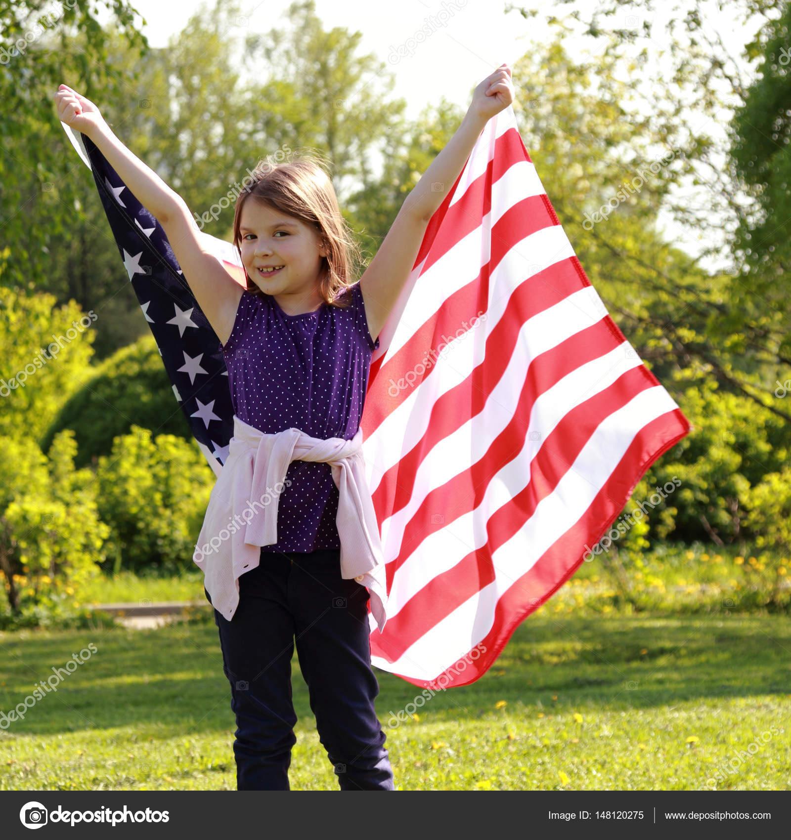 Lovely kid and flag — Stock Photo © Mari1Photo #148120275