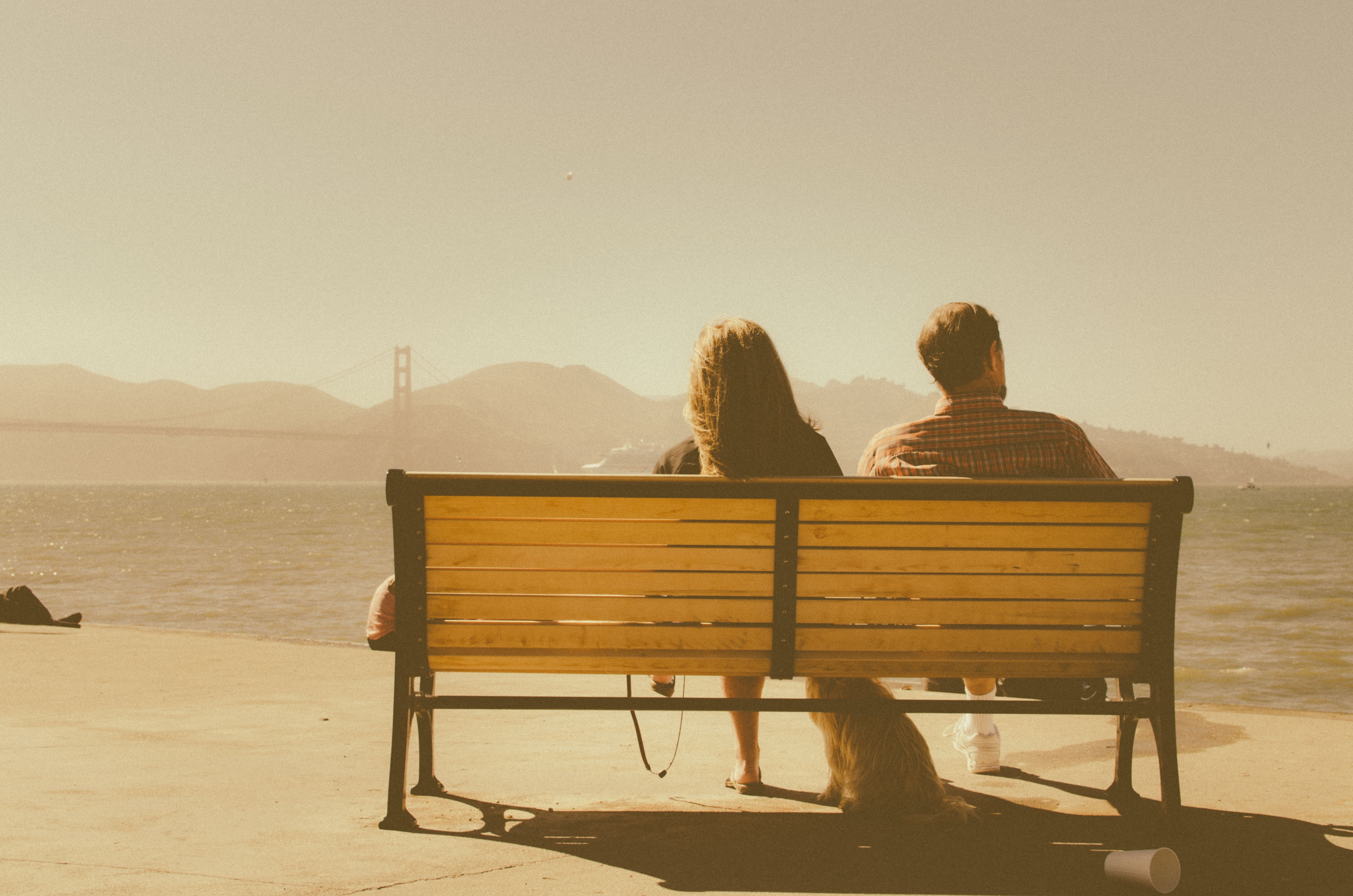 Lovers, Bench, Blue, Love, Nature, HQ Photo