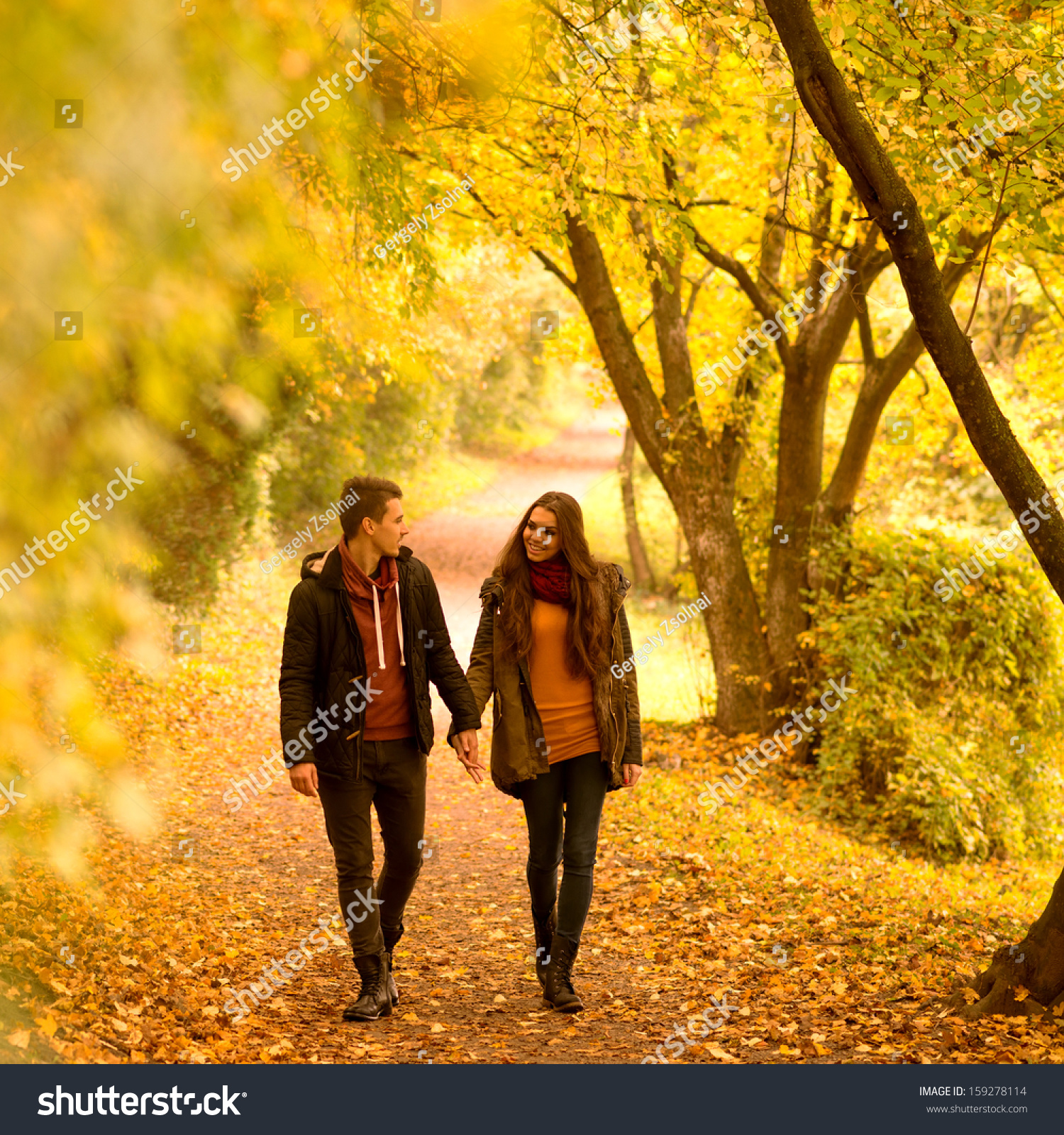 Lovers Walking Hand Hand Autumn Park Stock Photo (100% Legal ...