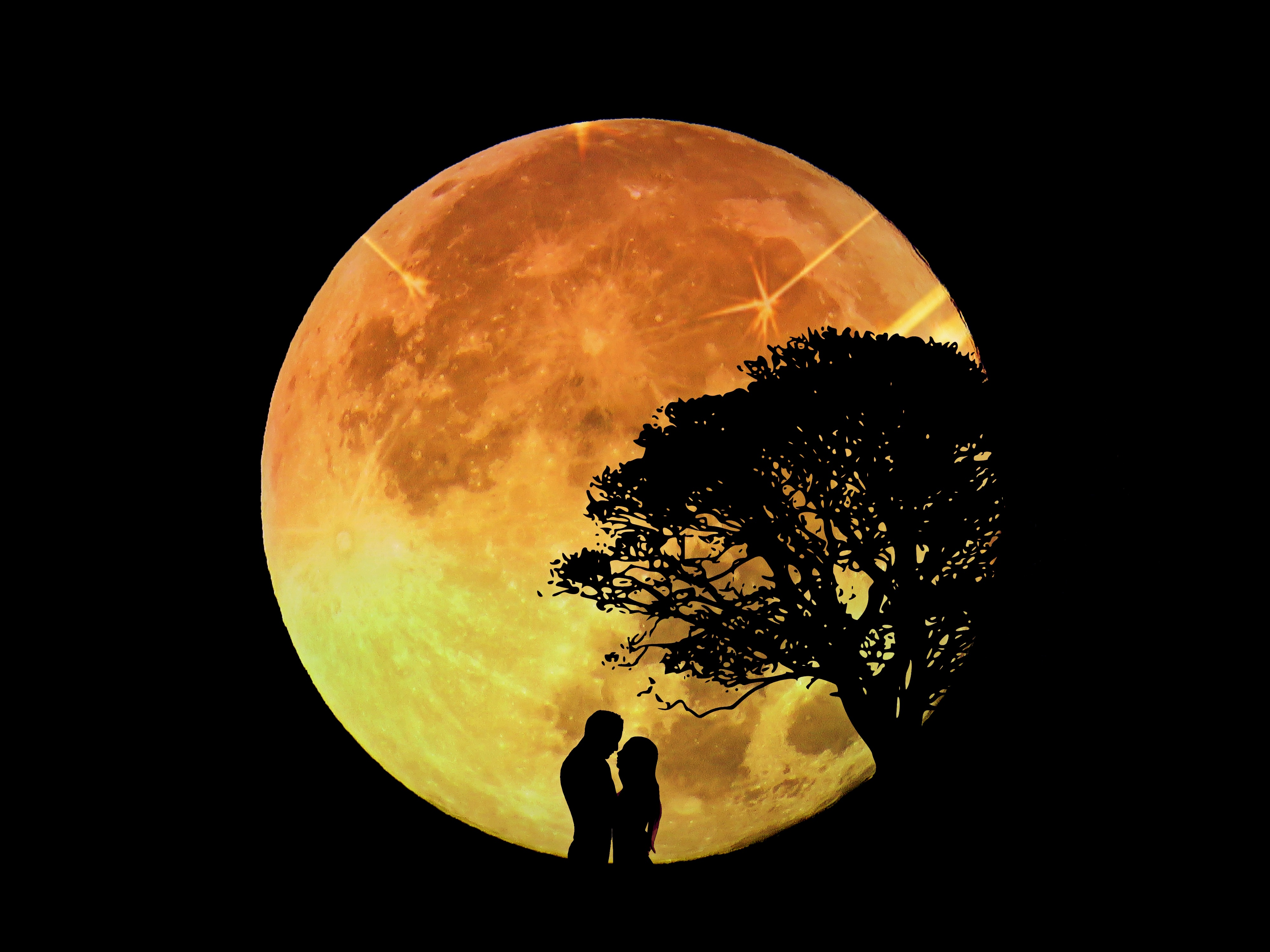 Lovers in front of a large moon photo
