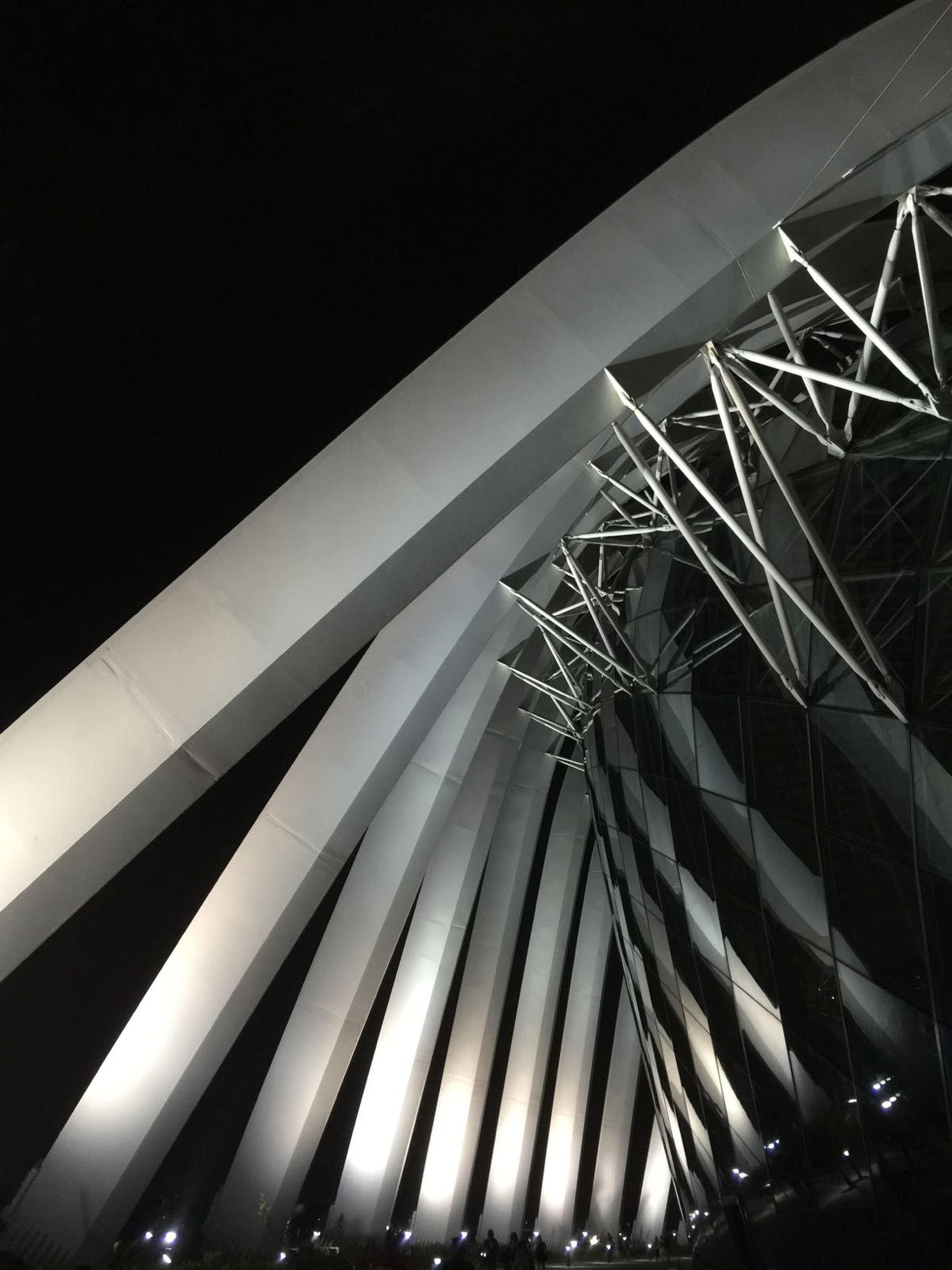 Low angle photo of designer's structure during nighttime