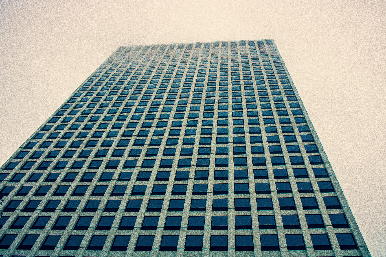 Low Angle Photography of Building, Grey sky, Windows, Urban, Tall, HQ Photo