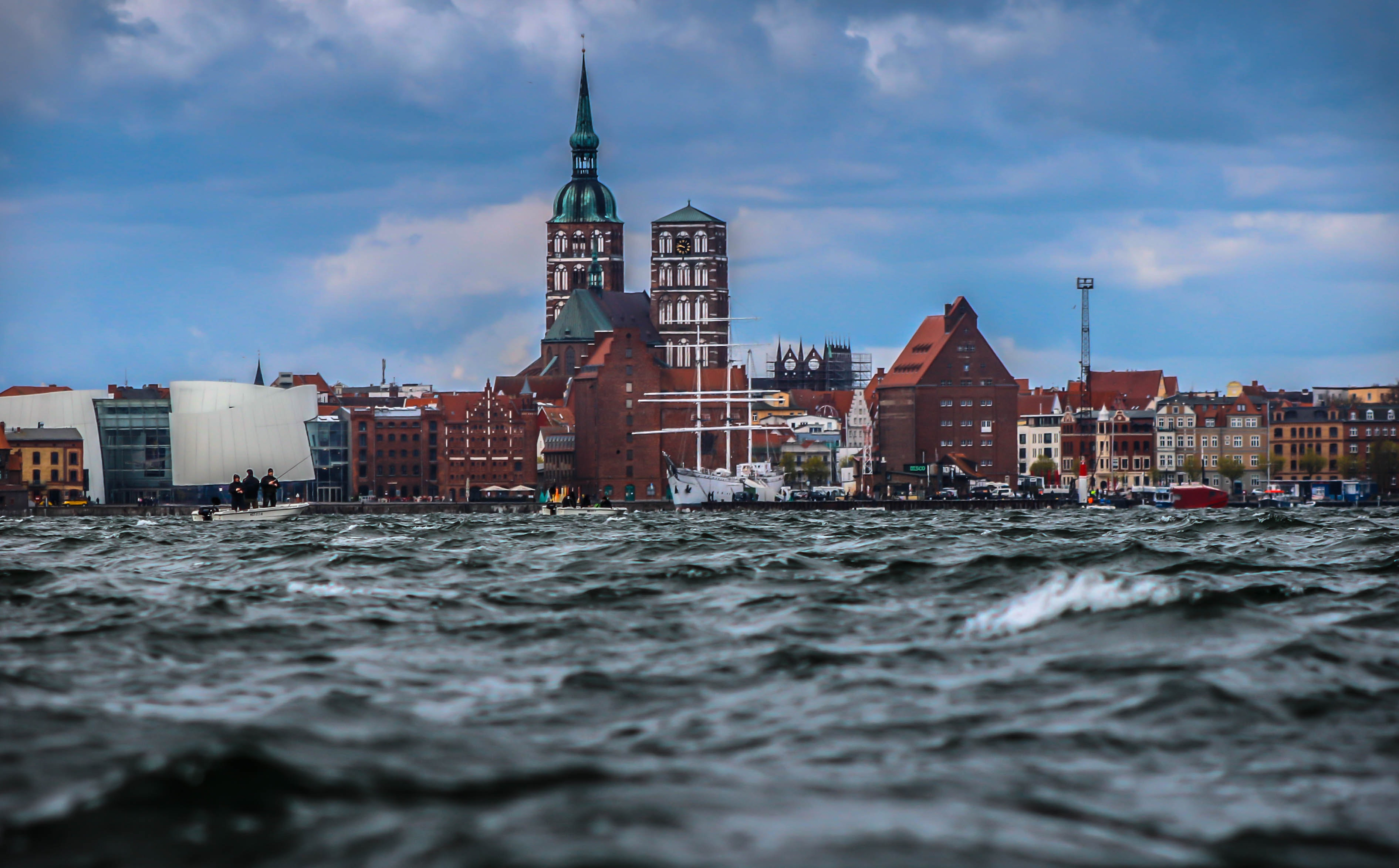 Low Angle Photography of Establishment With Church, Architecture, Skyline, Watercraft, Water, HQ Photo