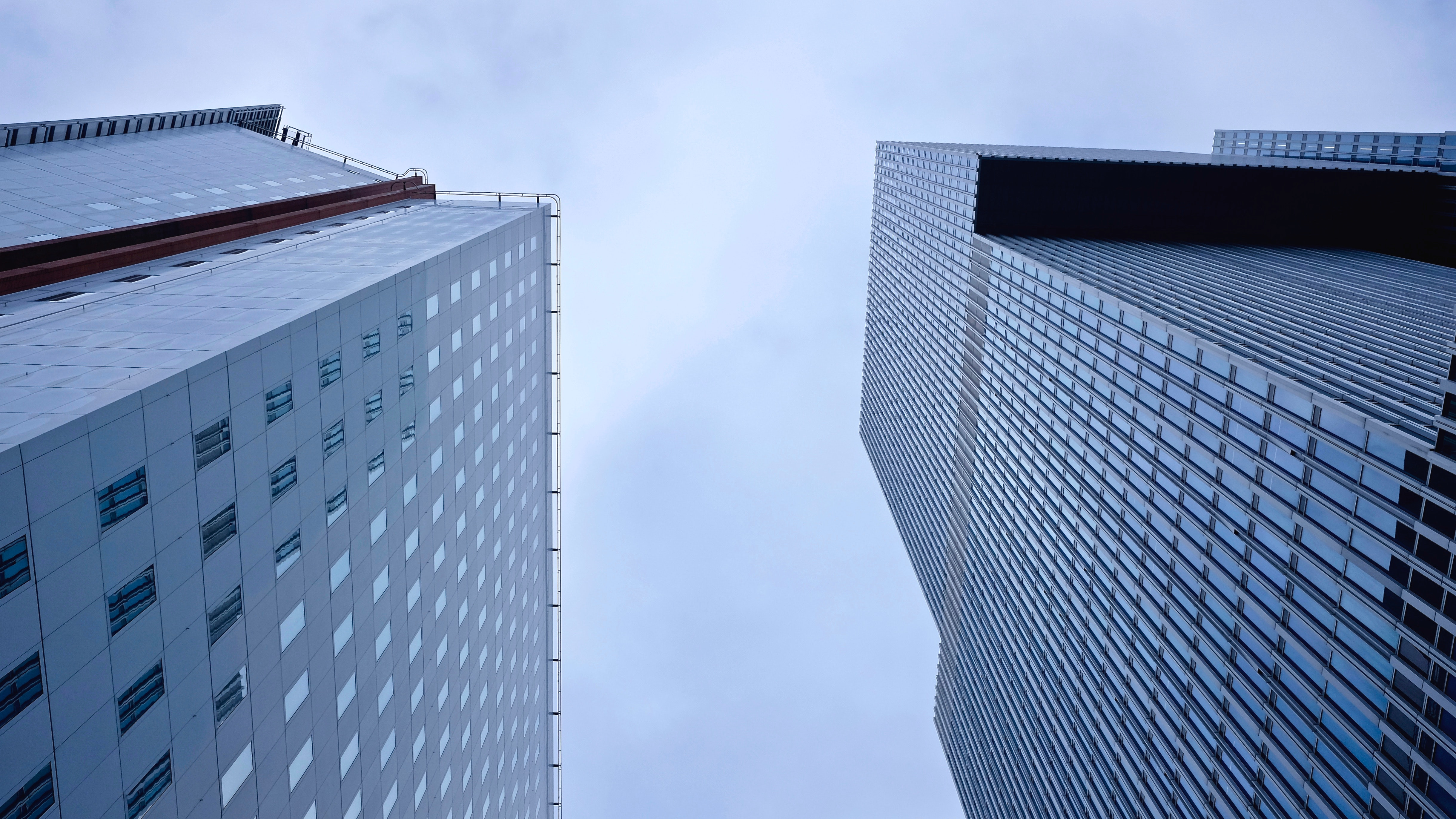 Low Angle Photography of Skyscrapers Against Sky, Architecture, Buildings, Cityscape, Glass, HQ Photo