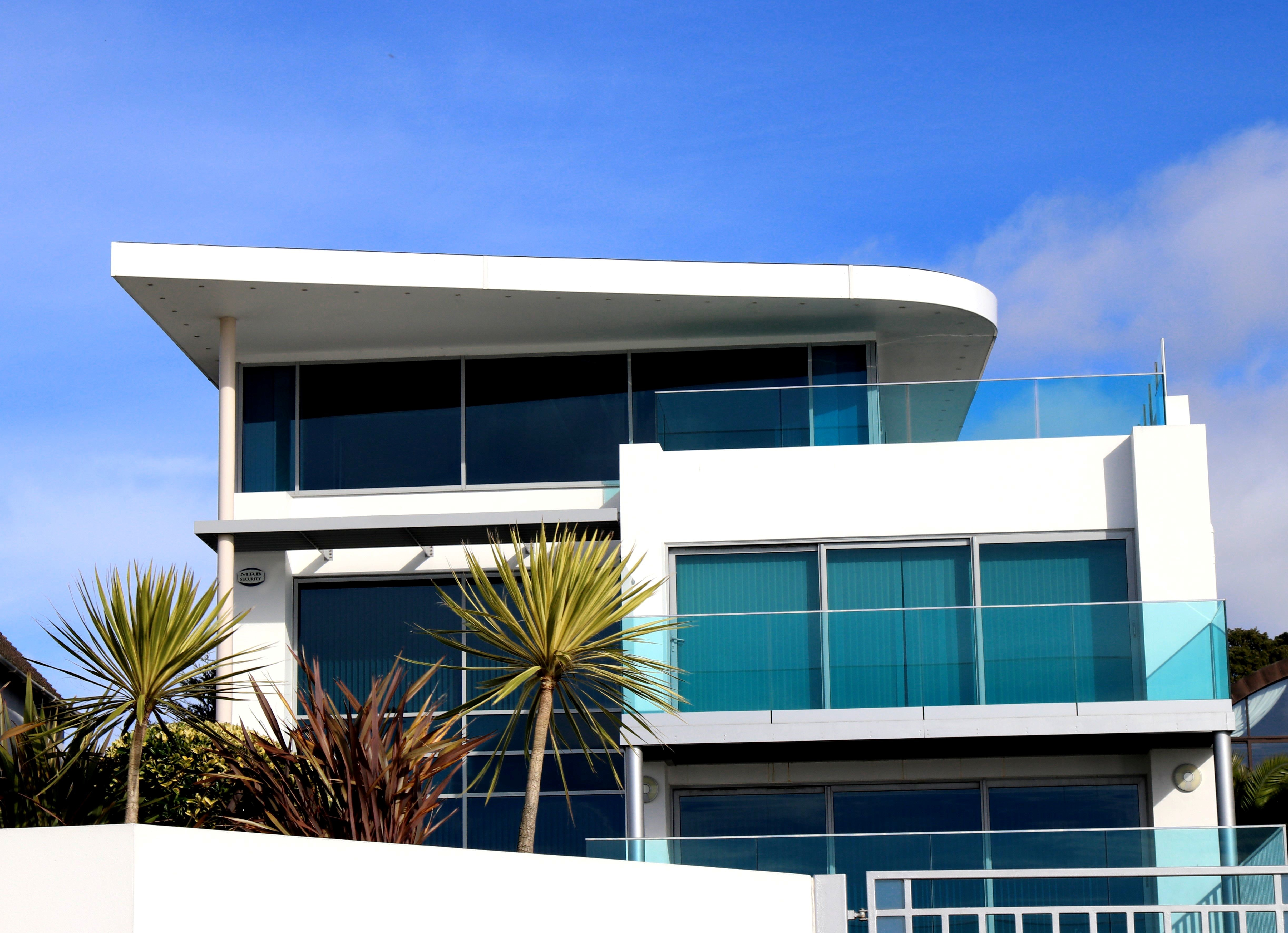 Low Angle View of Balcony Against Sky, Apartment, Family, Structure, Steel, HQ Photo