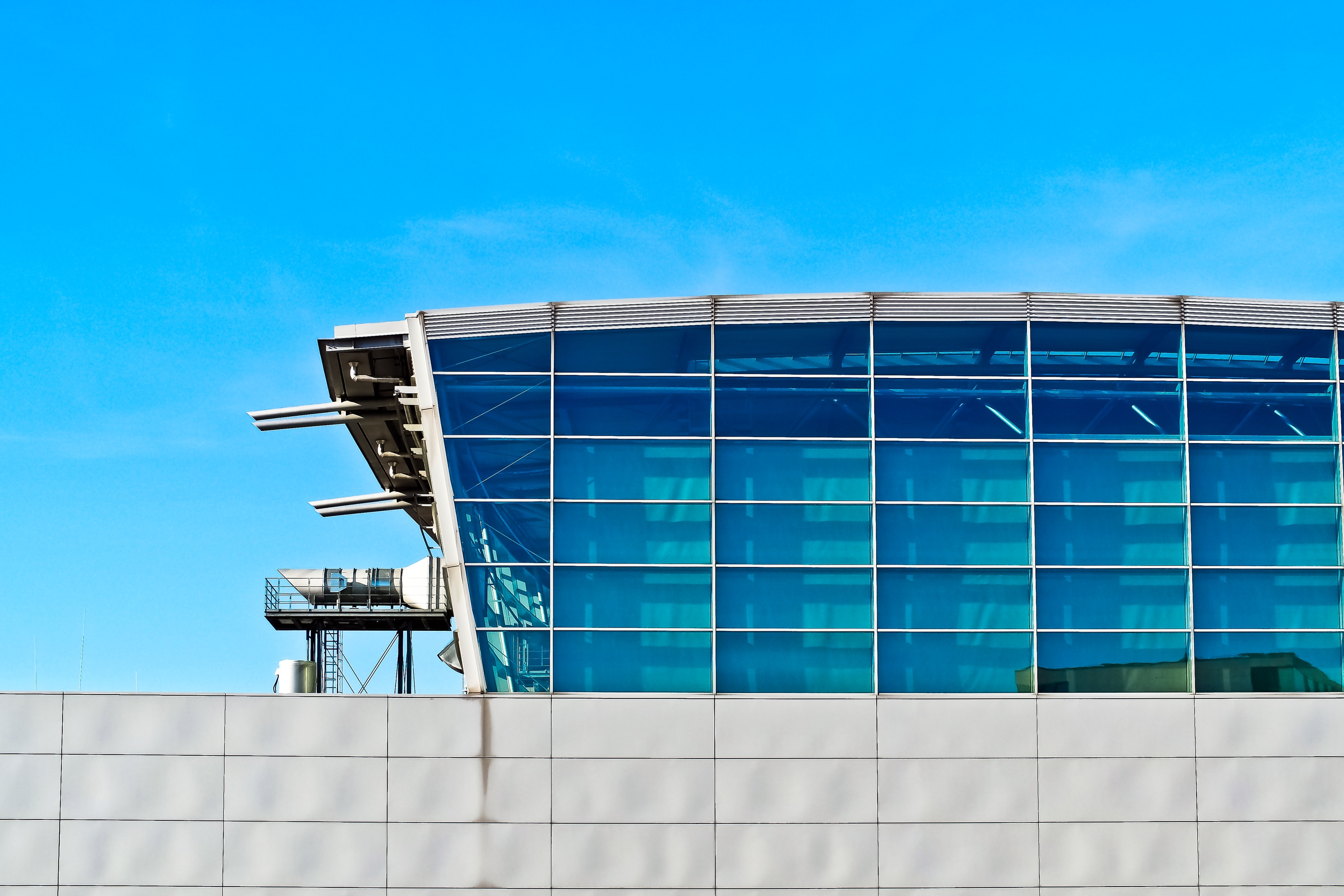 Low Angle View of Built Structure Against Blue Sky, Architecture, Metal, Reflection, Perspective, HQ Photo