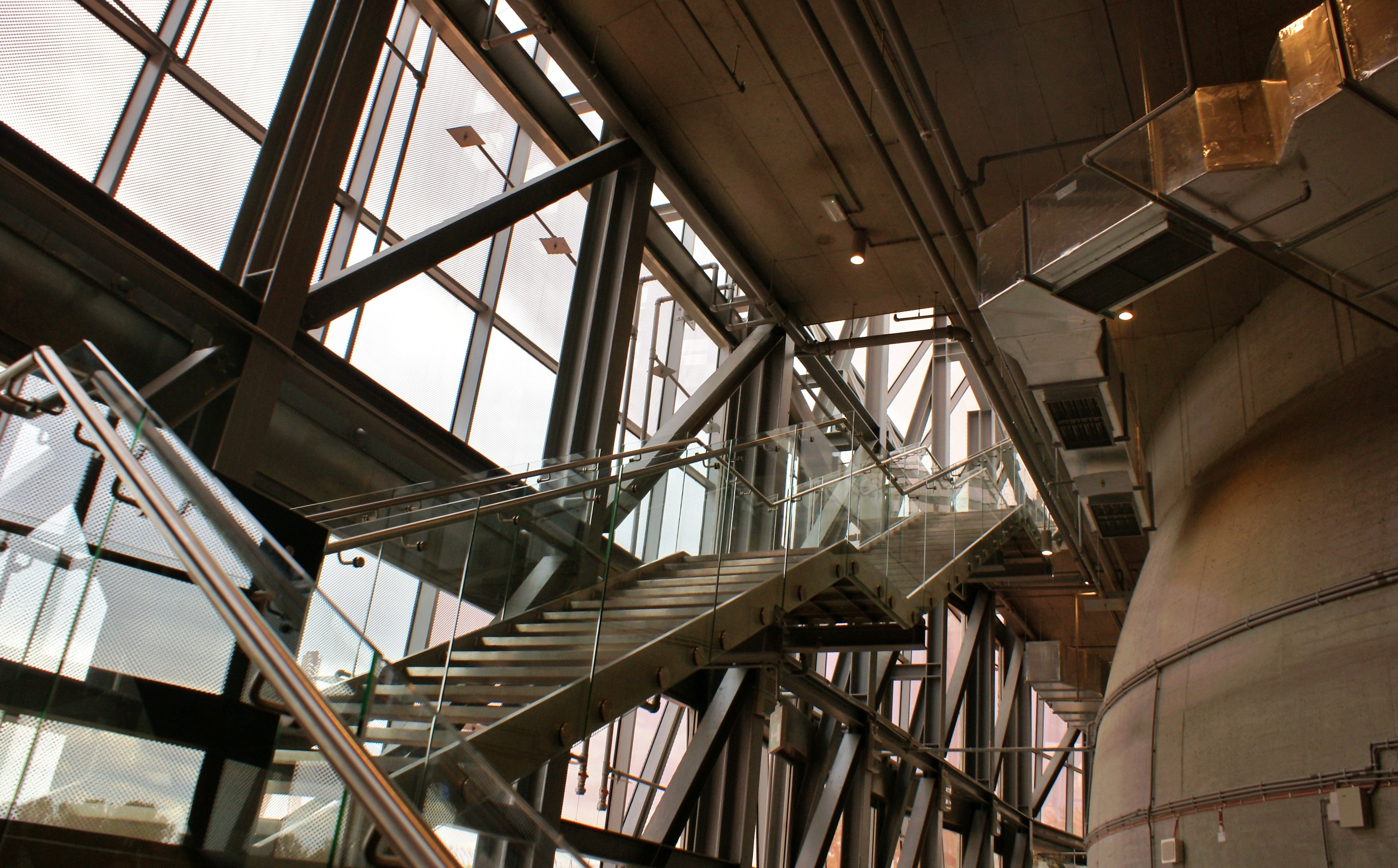 Low Angle View of Staircase, Metal, Urban, Tube, Technology, HQ Photo