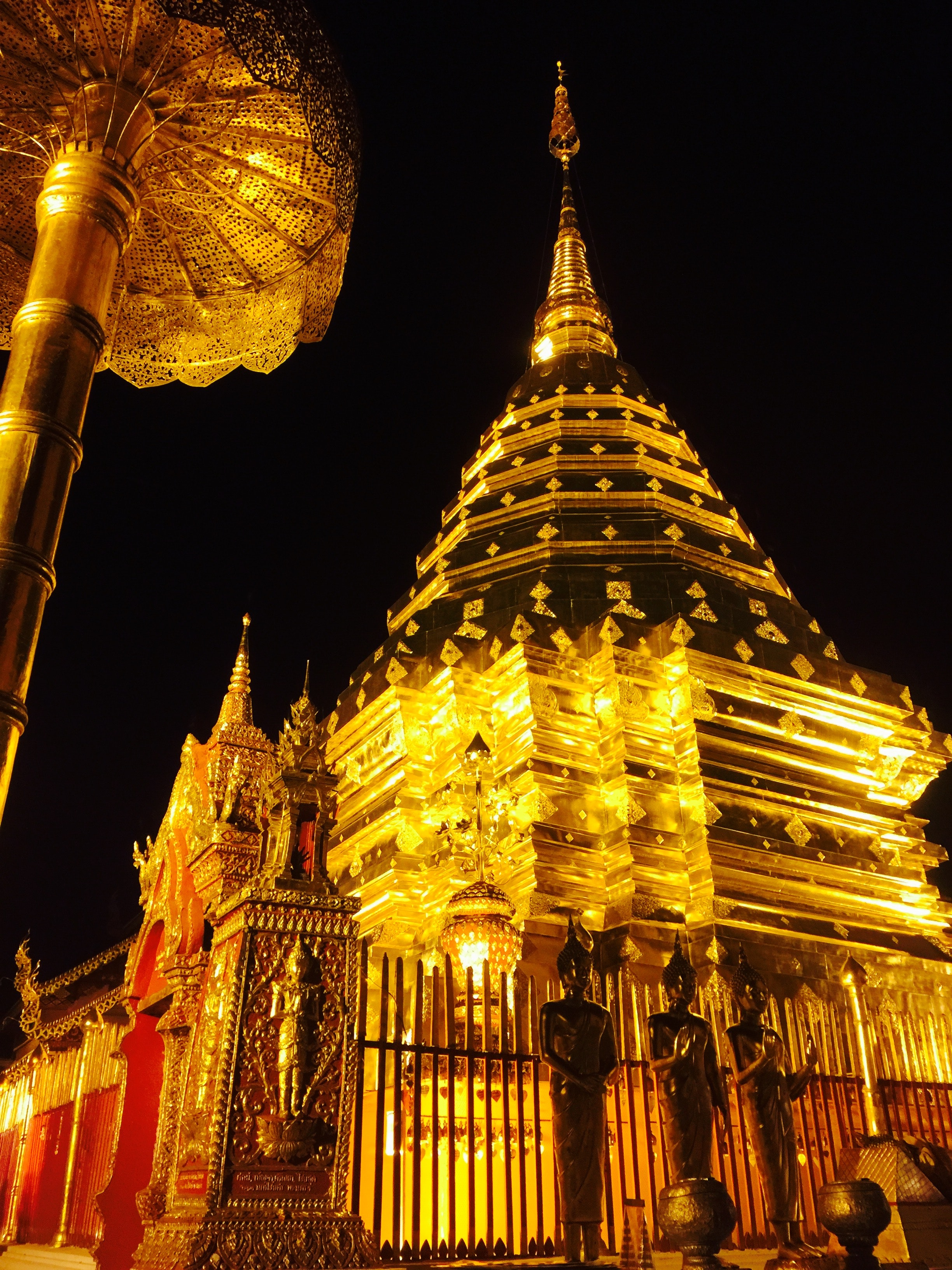 Low angle view of temple at night photo