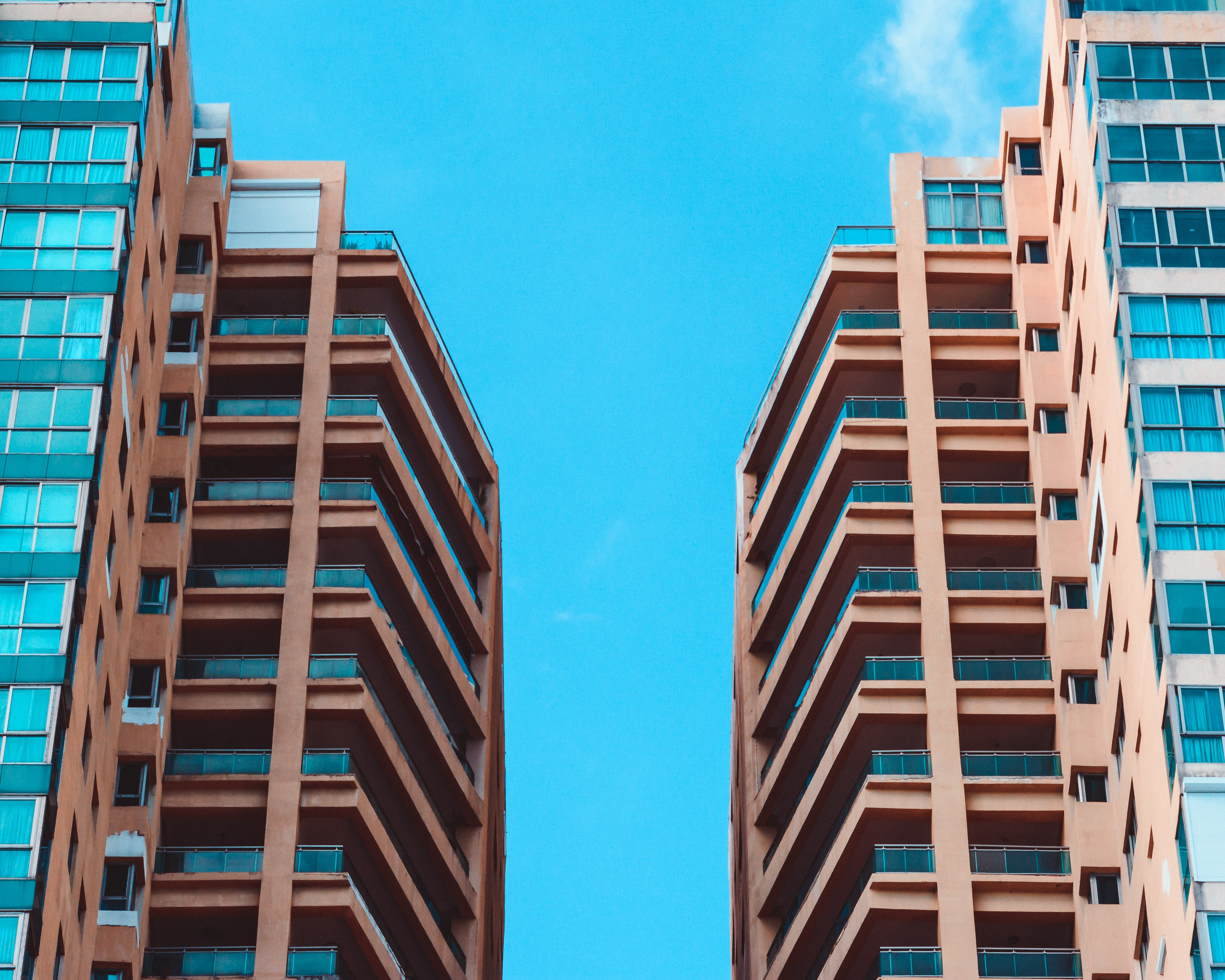 Low Angle View of Two High Rise Buildings Under Blue Sky, Architectural design, High, Urban, Tall, HQ Photo