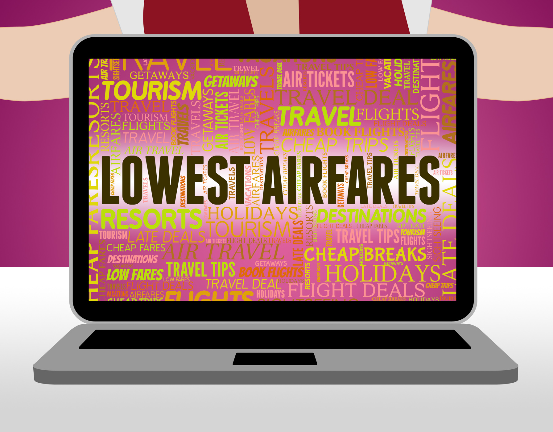 Lowest airfares indicates current price and aircraft photo