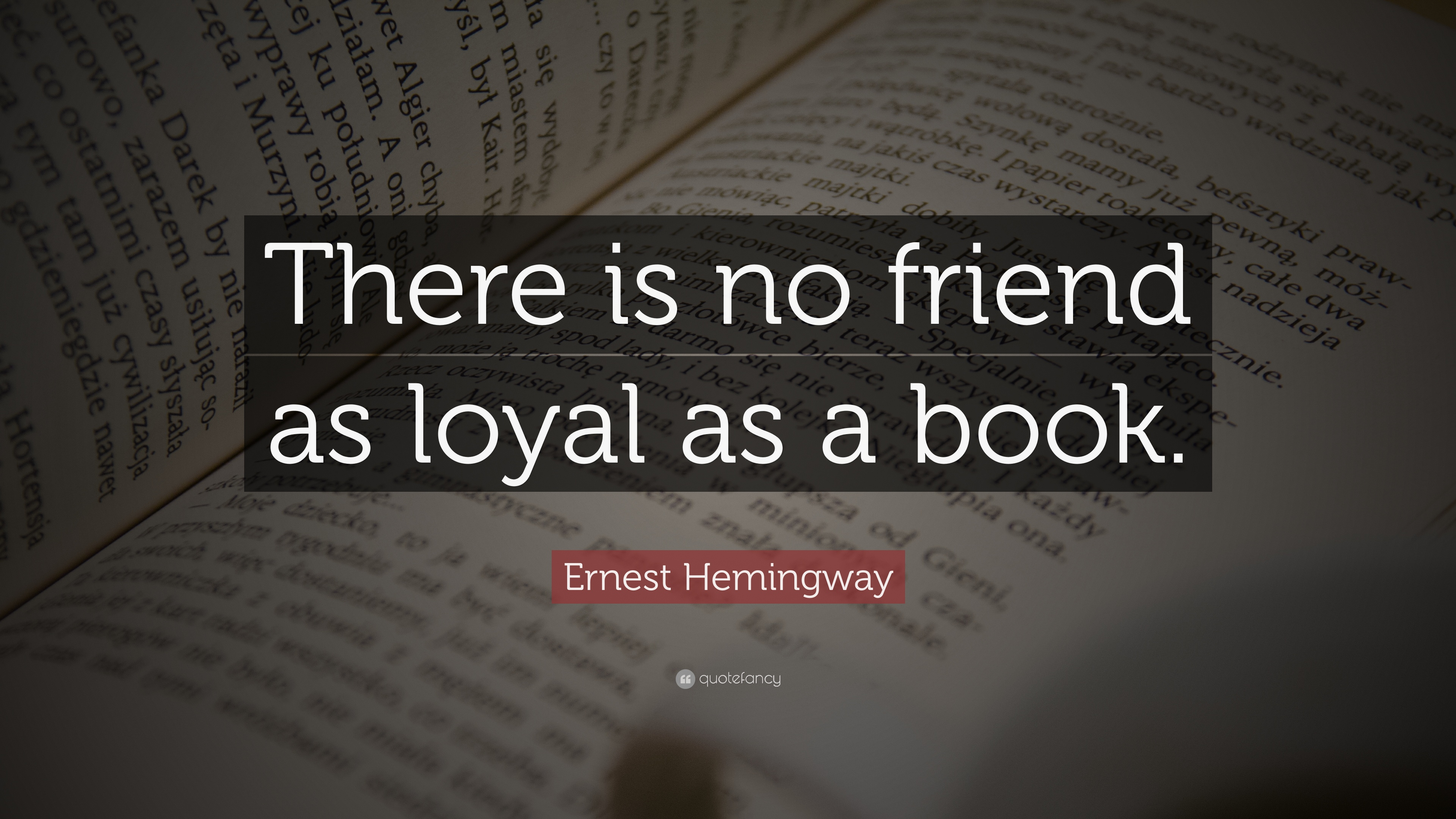 Booknerd images 4056 Ernest Hemingway Quote There is no friend as ...