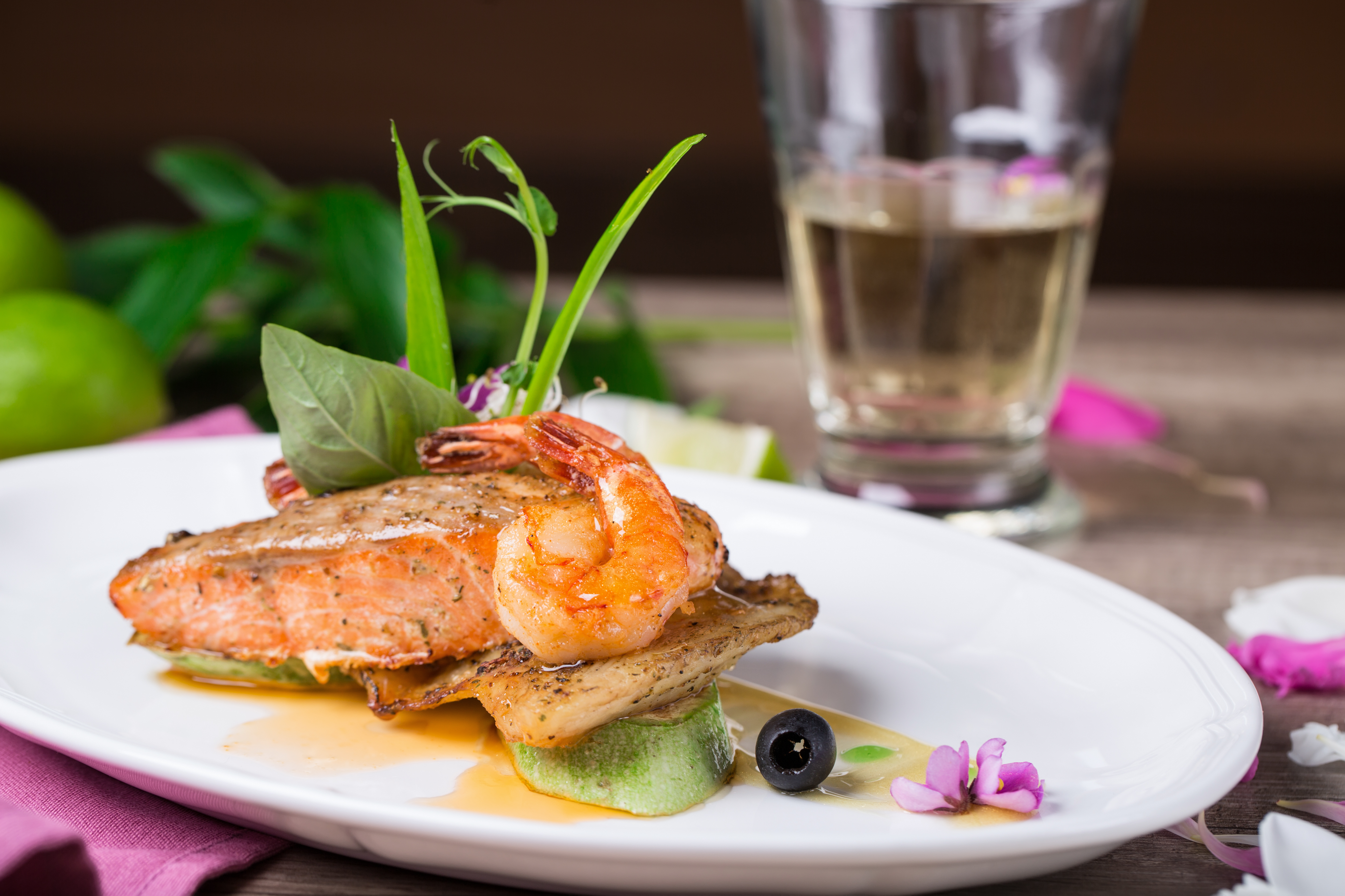Luxury salmon and shrimp photo