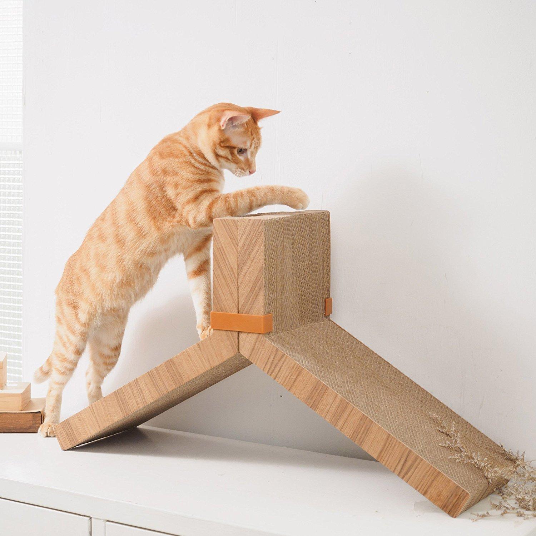 Amazon.com : KATRIS Lynks Modular Cat Scratcher - 2 Pack, Real Teak ...