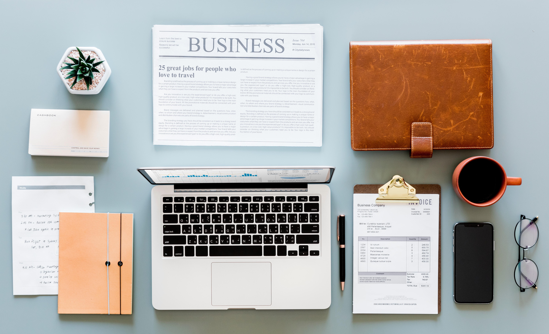 Macbook Air, Newspaper Article and Mug, Black coffee, Laptop, Reminder, Plant, HQ Photo