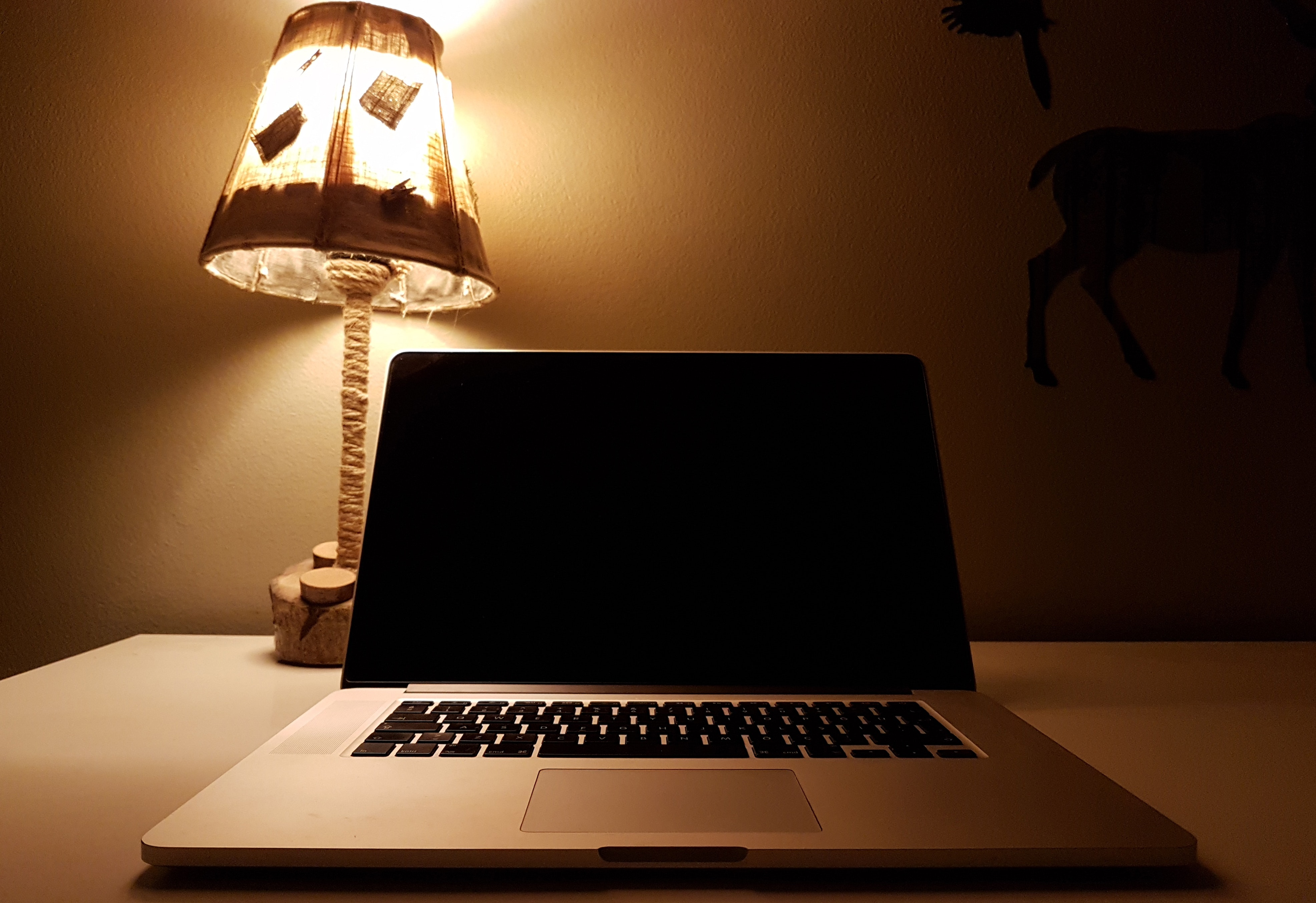 Macbook Pro, Computer, Desk, Keyboard, Lamp, HQ Photo