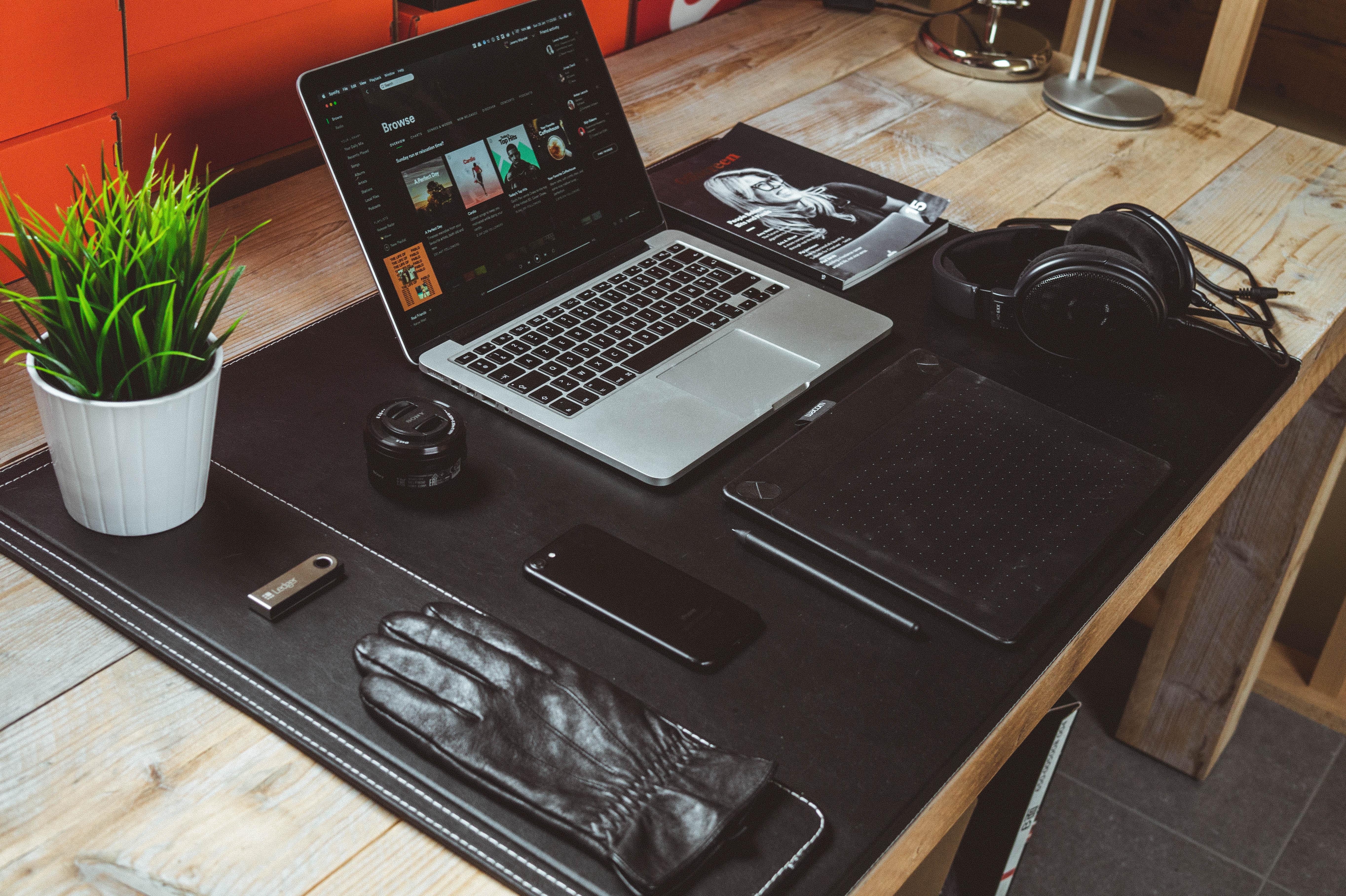 Macbook pro on desk photo