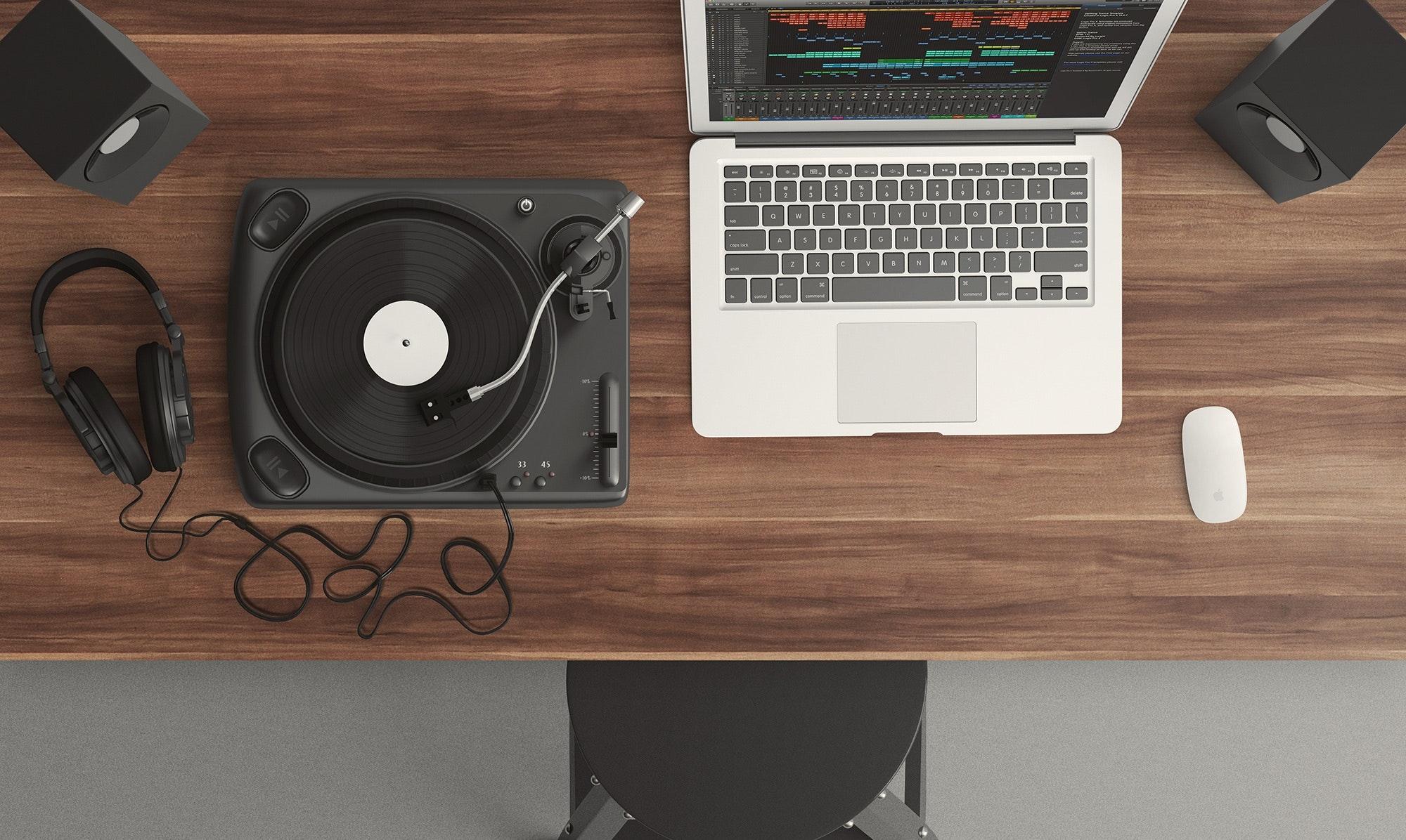 Macbook White, Audio, Music, Wireless, Turntable, HQ Photo