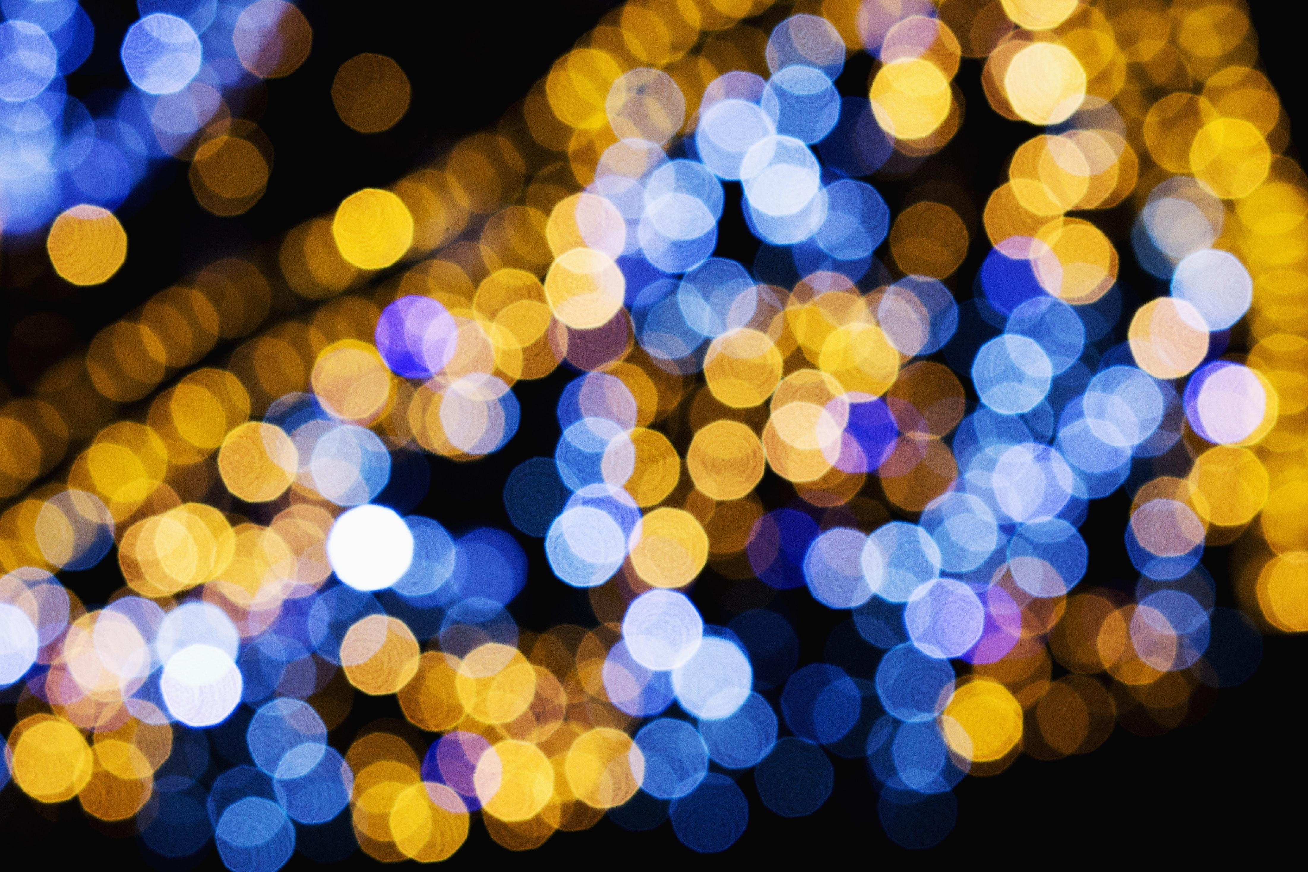 Macro shot of yellow and blue lights photo