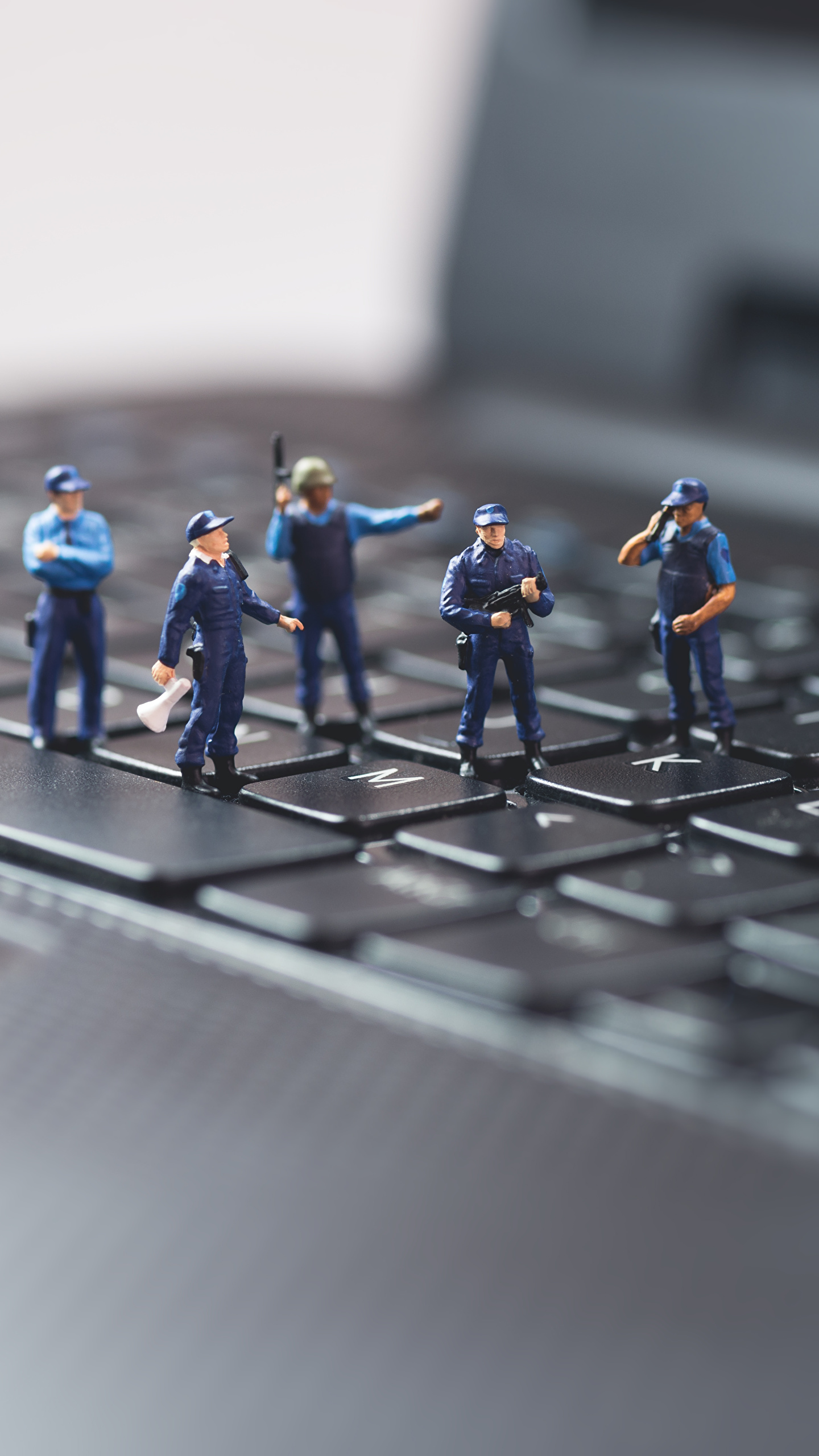 Pictures Laptops Keyboard Police Macro Toys Closeup 1440x2560