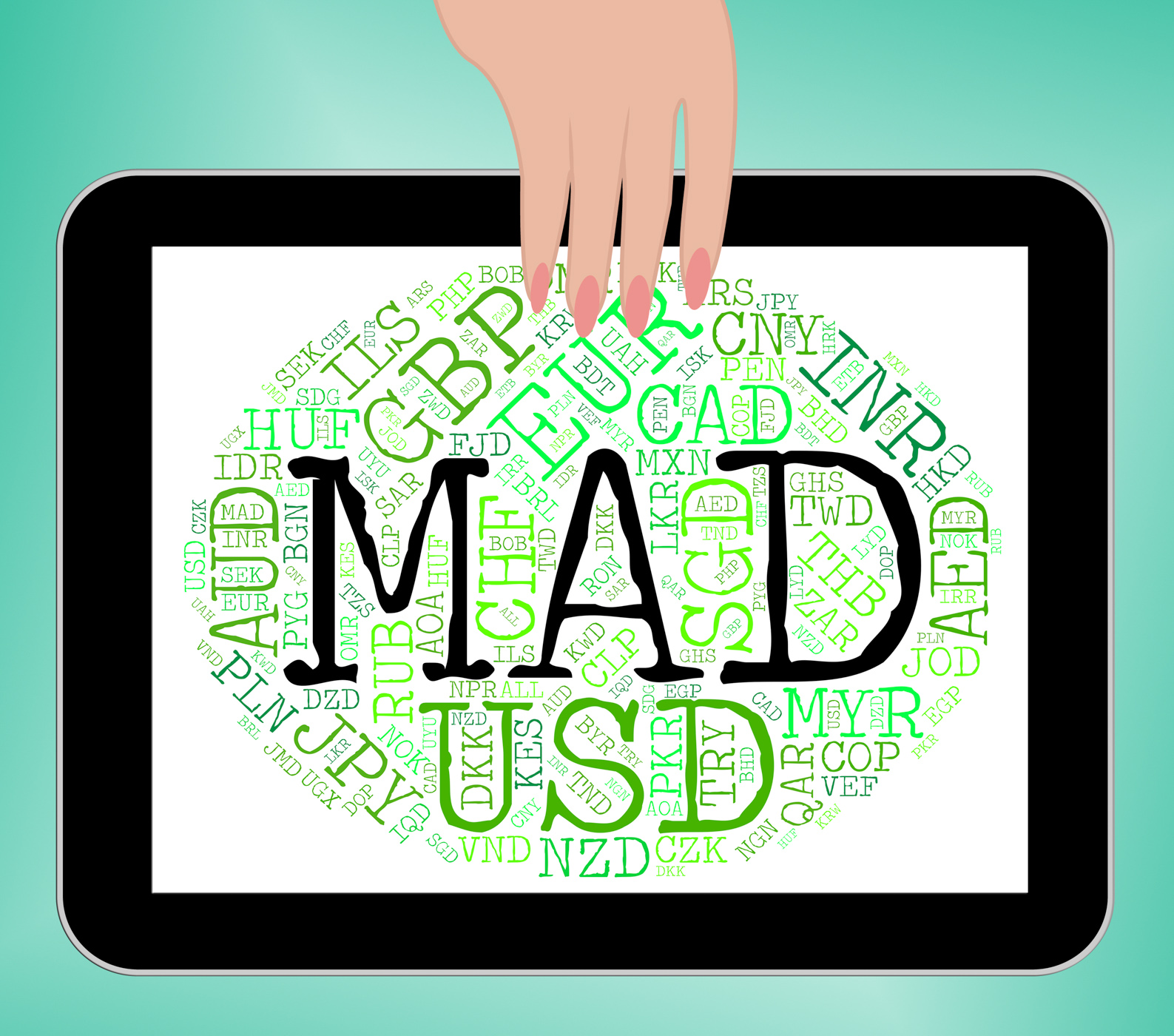 Mad currency means worldwide trading and currencies photo