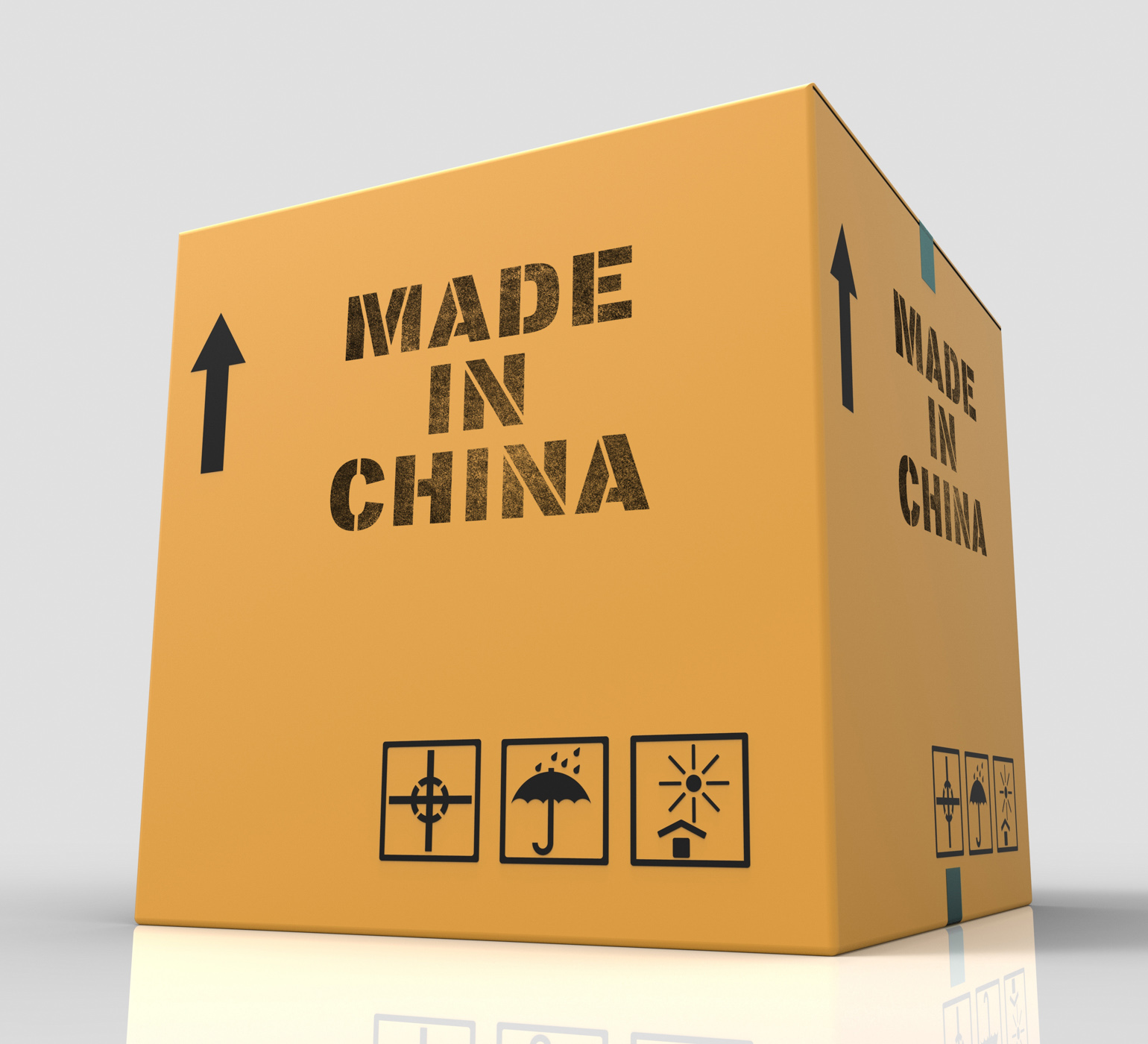Made in china indicates goods and 3d rendering photo