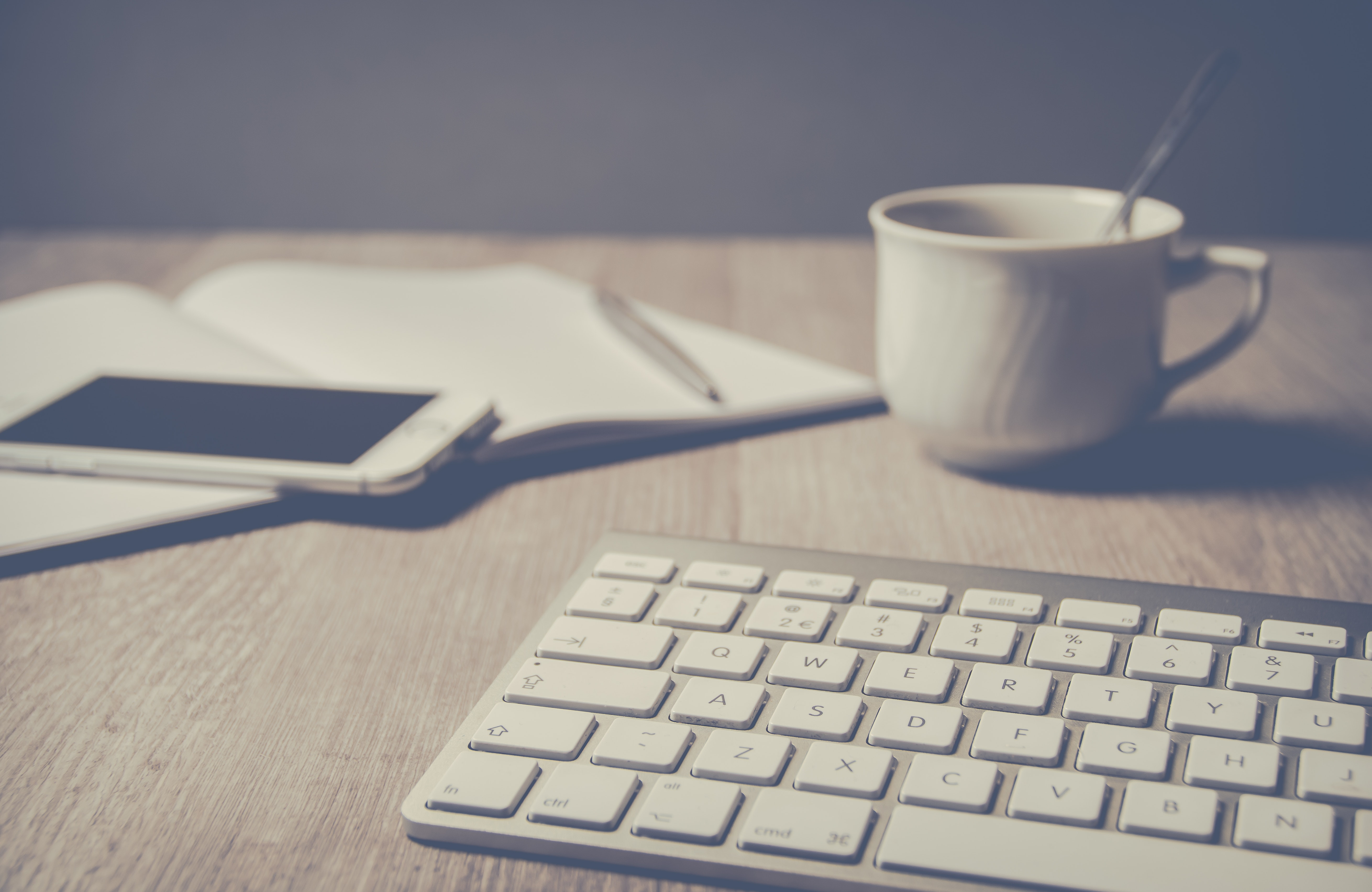 Magic Keyboard Beside Coffee Mug on Desk, Ballpen, Mobile, Work space, Work area, HQ Photo