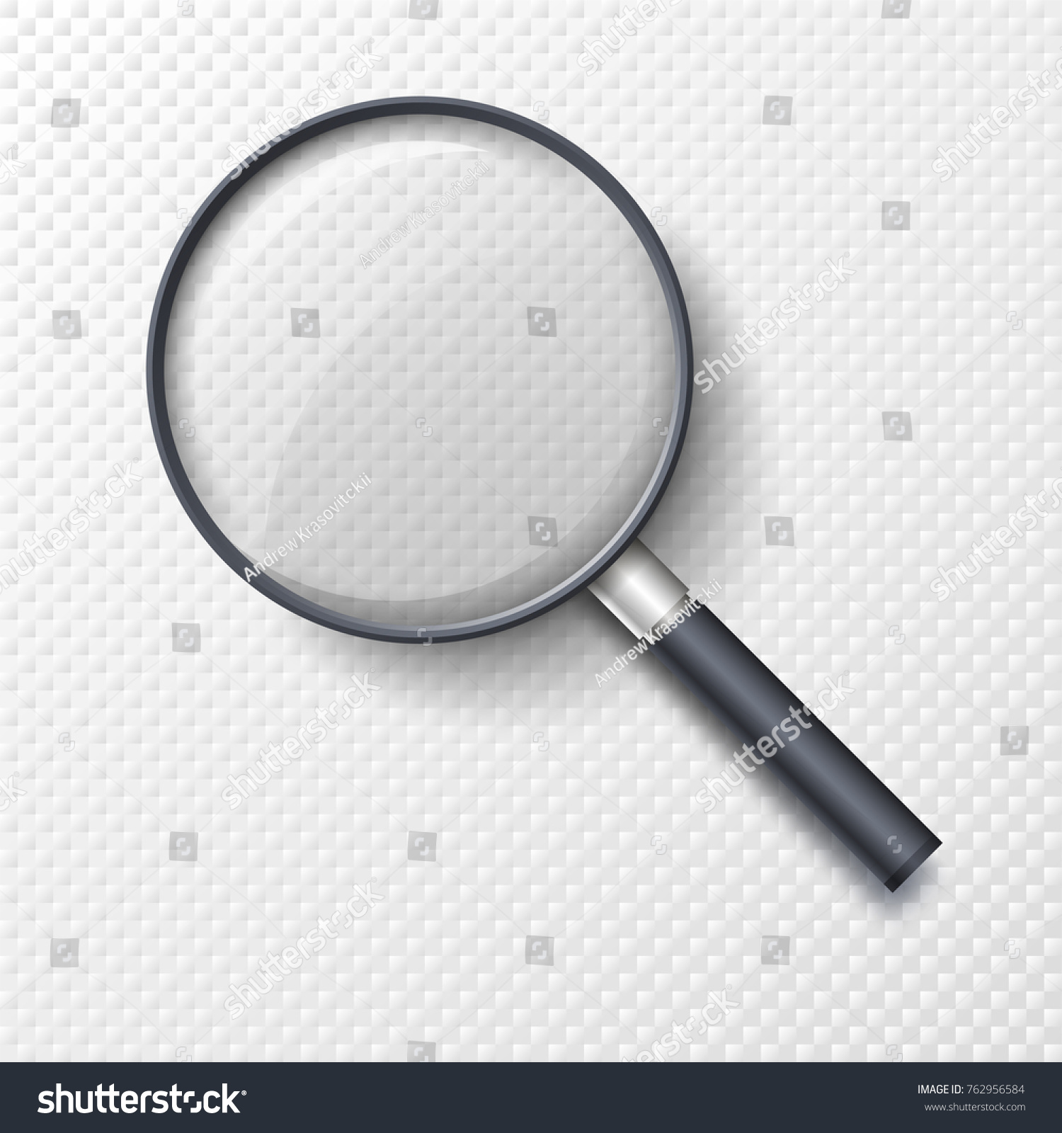 Realistic Magnifying Glass Magnifier Hand Lens Stock Vector ...