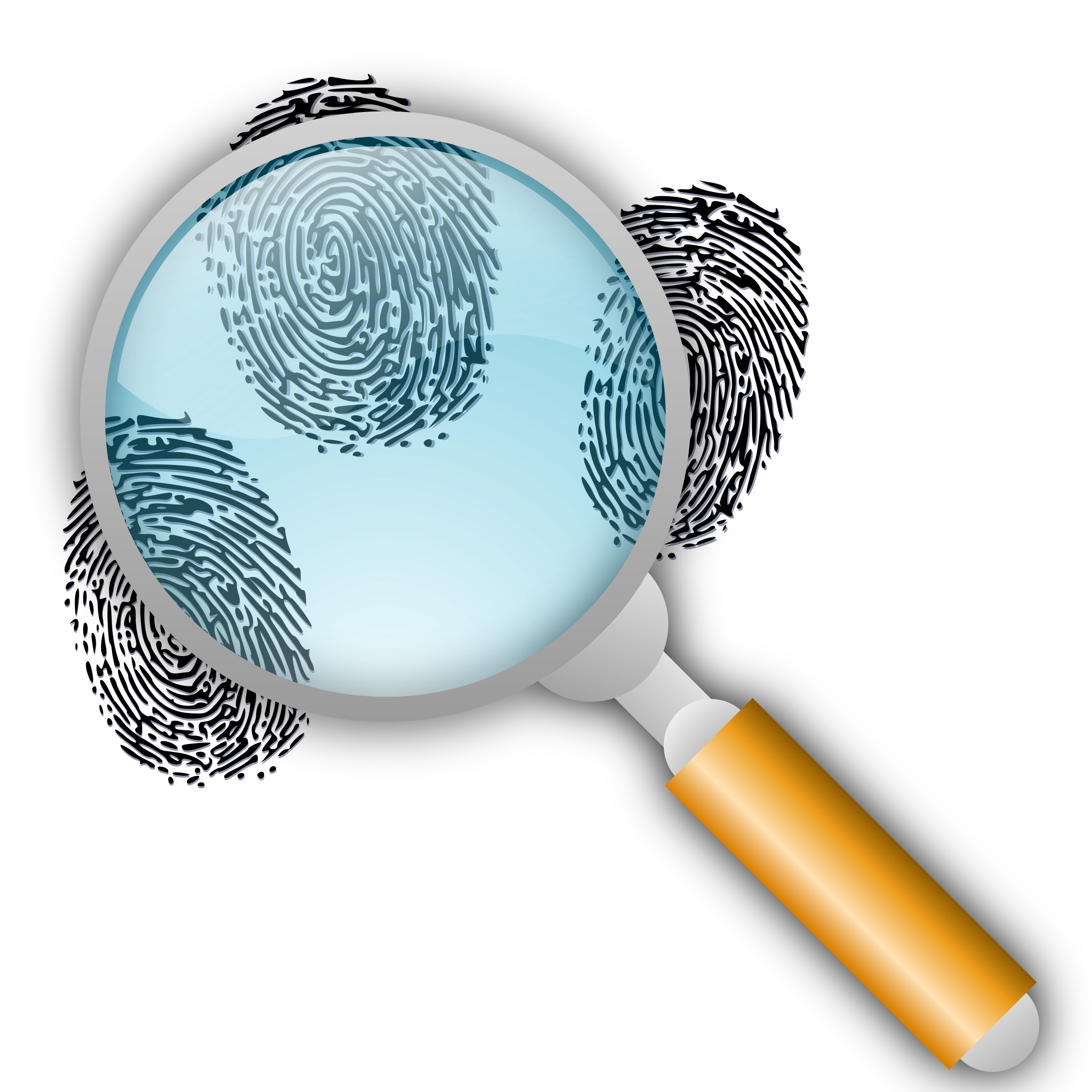 Clipart - Fingerprint Search with Slight Magnification