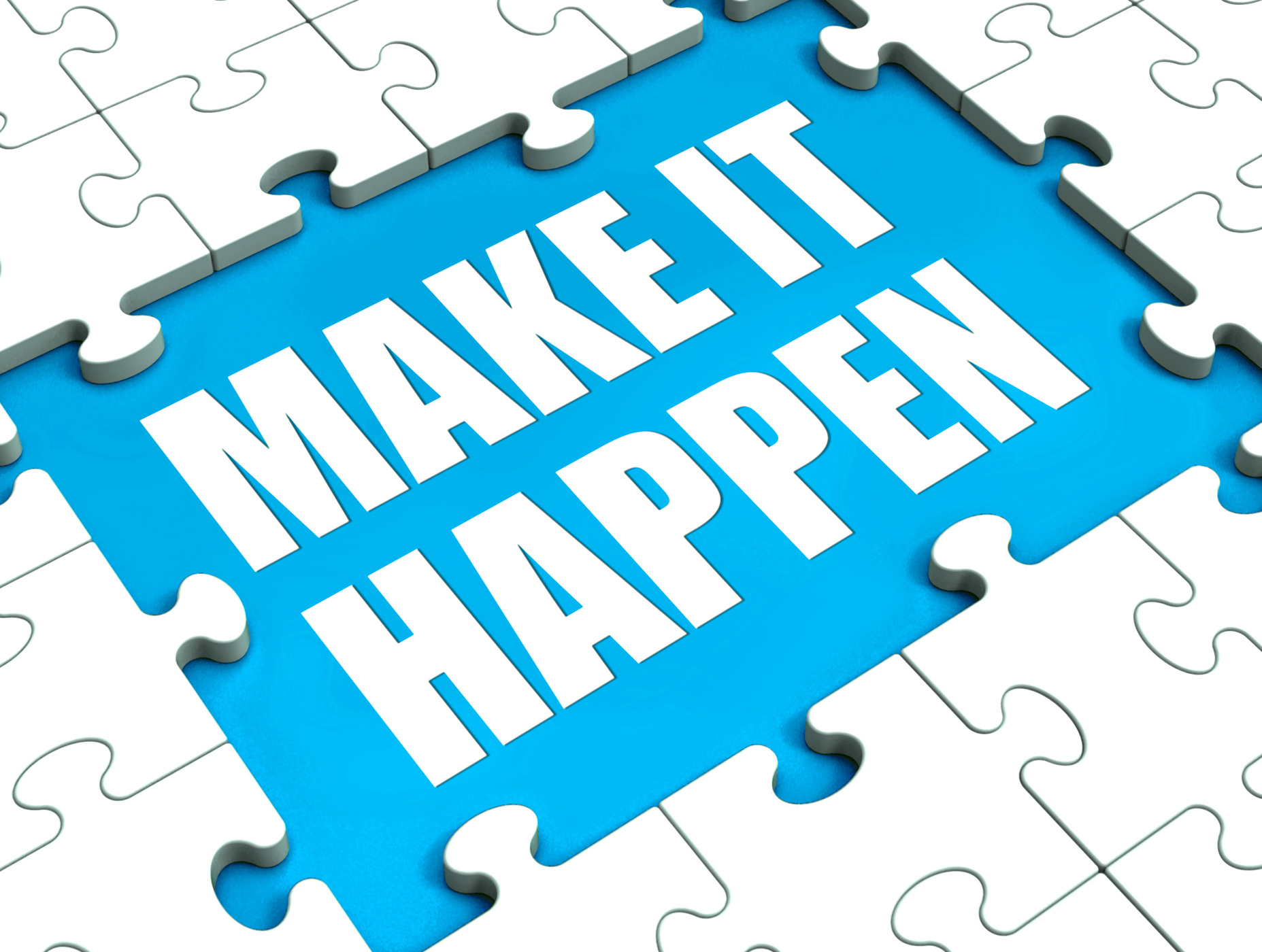 Make it happen puzzle shows motivation management and action photo