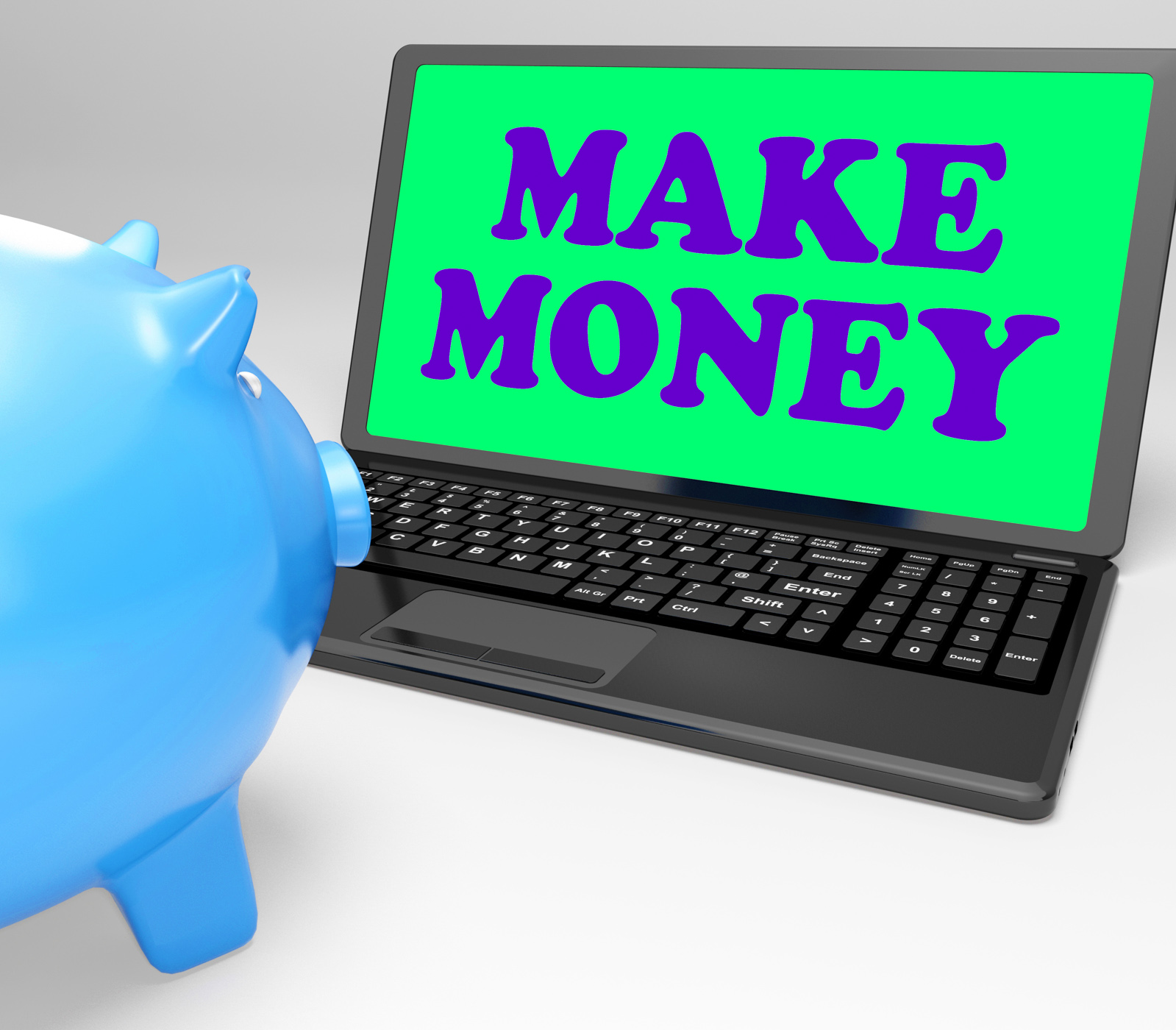 Make money laptop means accumulating wealth and prosperity photo