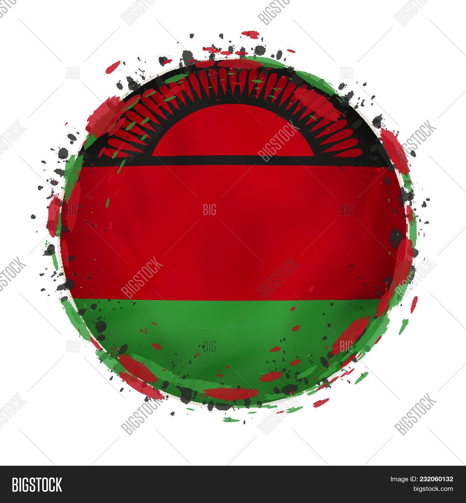 Round Grunge Flag Malawi Splashes Vector & Photo | Bigstock
