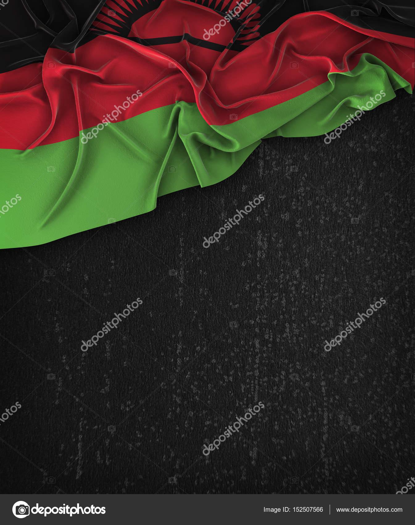 Malawi Flag Vintage on a Grunge Black Chalkboard With Space For ...
