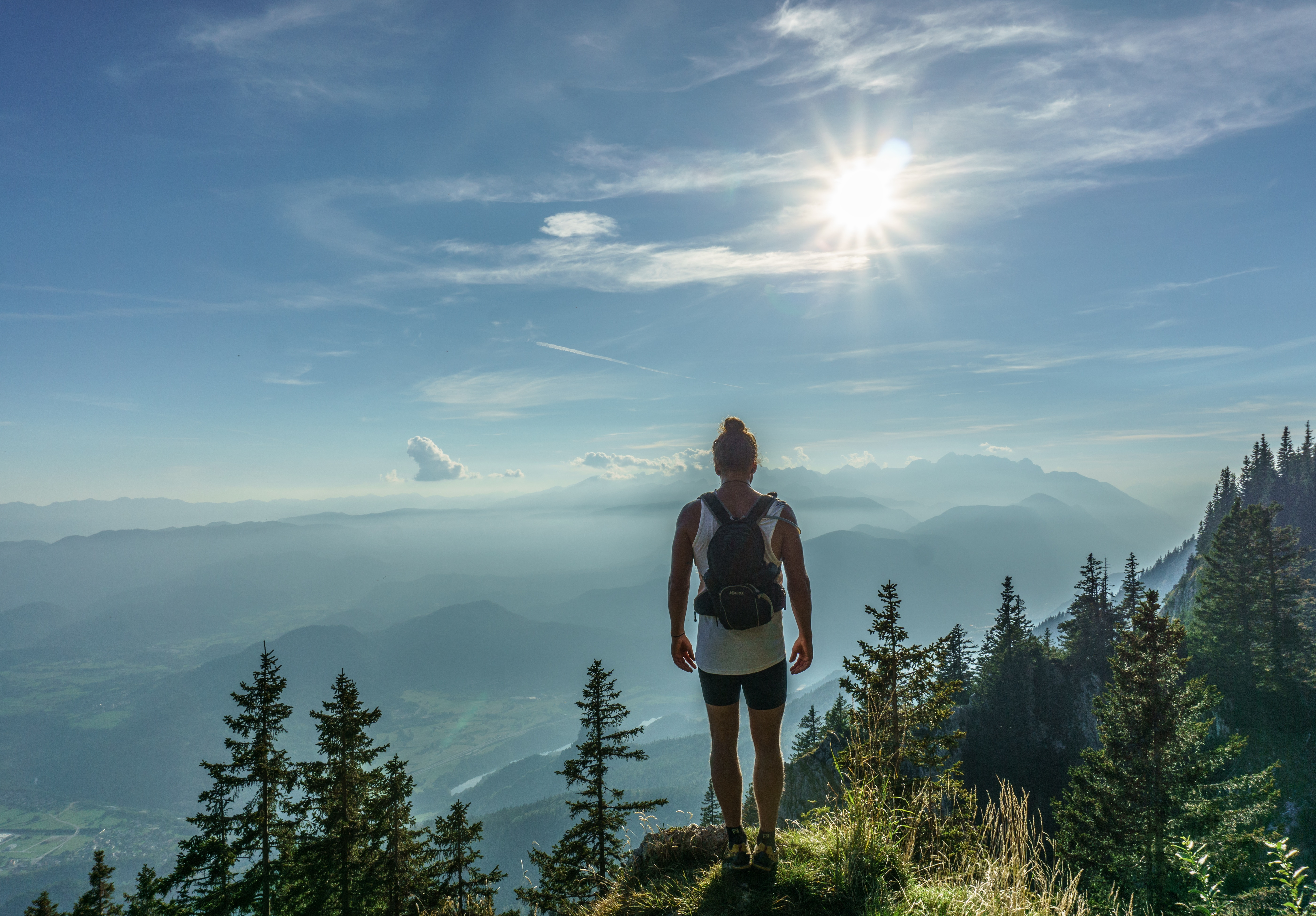 Male hiker in the mountains photo