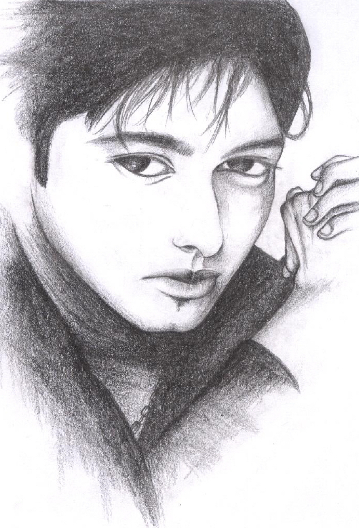 Male Model Sketch, Artwork, Drawing, Face, Male, HQ Photo