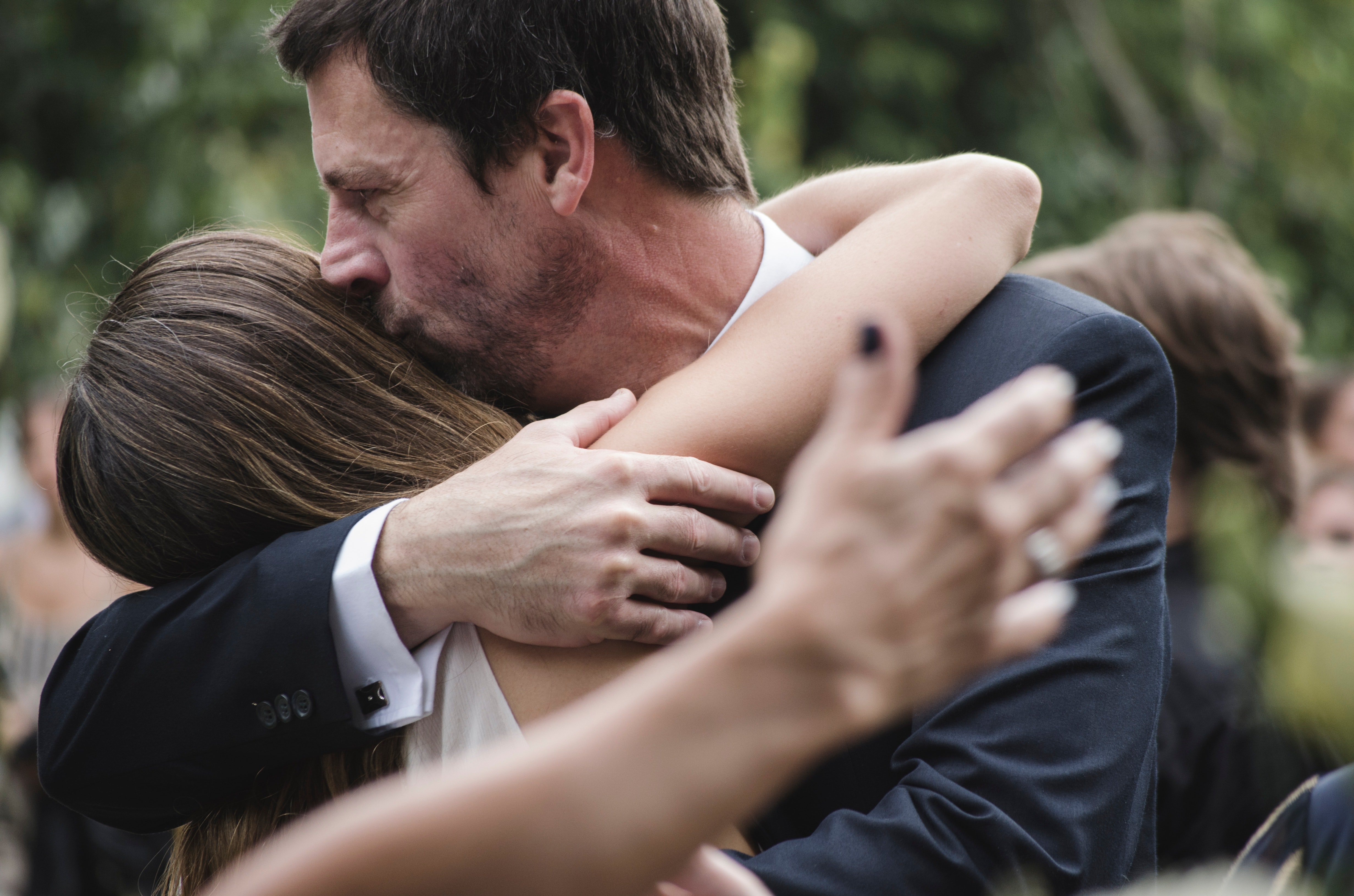 Man and Woman Hugging While Man Kissing Woman's Head, Affection, Happy, Together, People, HQ Photo